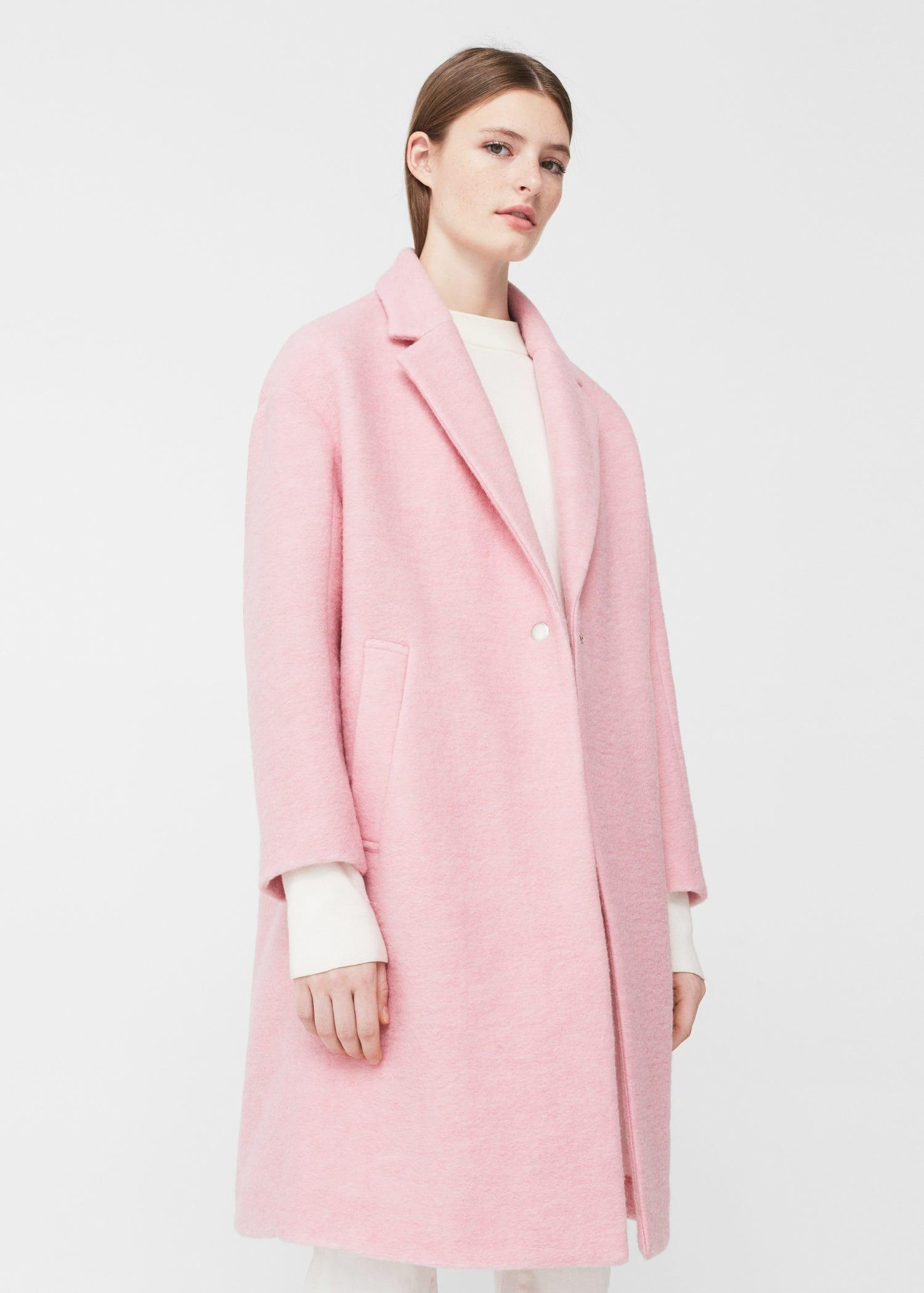 Mango Unstructured Wool Coat in Pink | Lyst