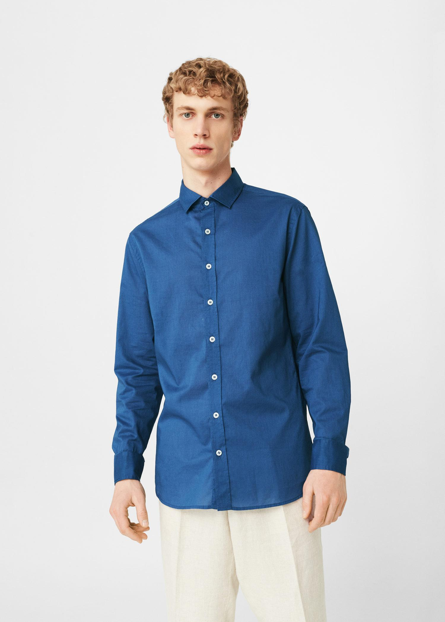 Lyst mango slim fit cotton shirt in blue for men for Slim fit cotton shirts
