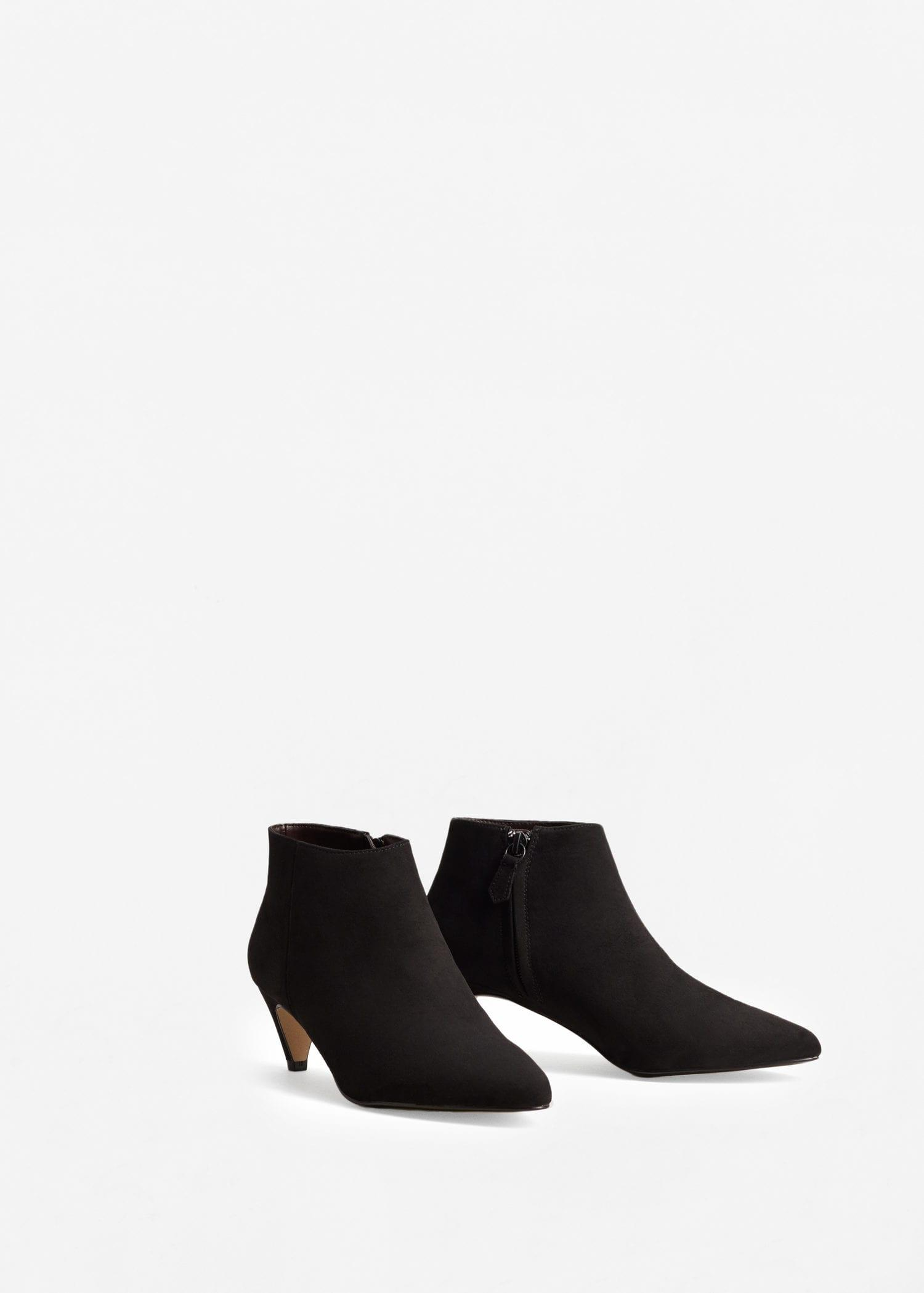 Mango Synthetic Kitten Heel Ankle Boots in Black