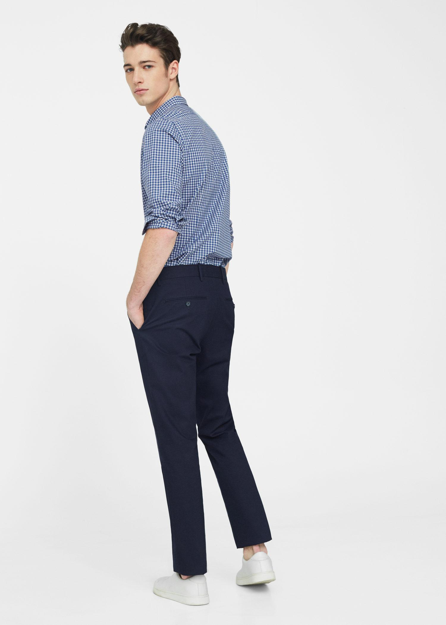 Mango Cotton Slim-fit Gingham Check Shirt in Navy (Blue) for Men