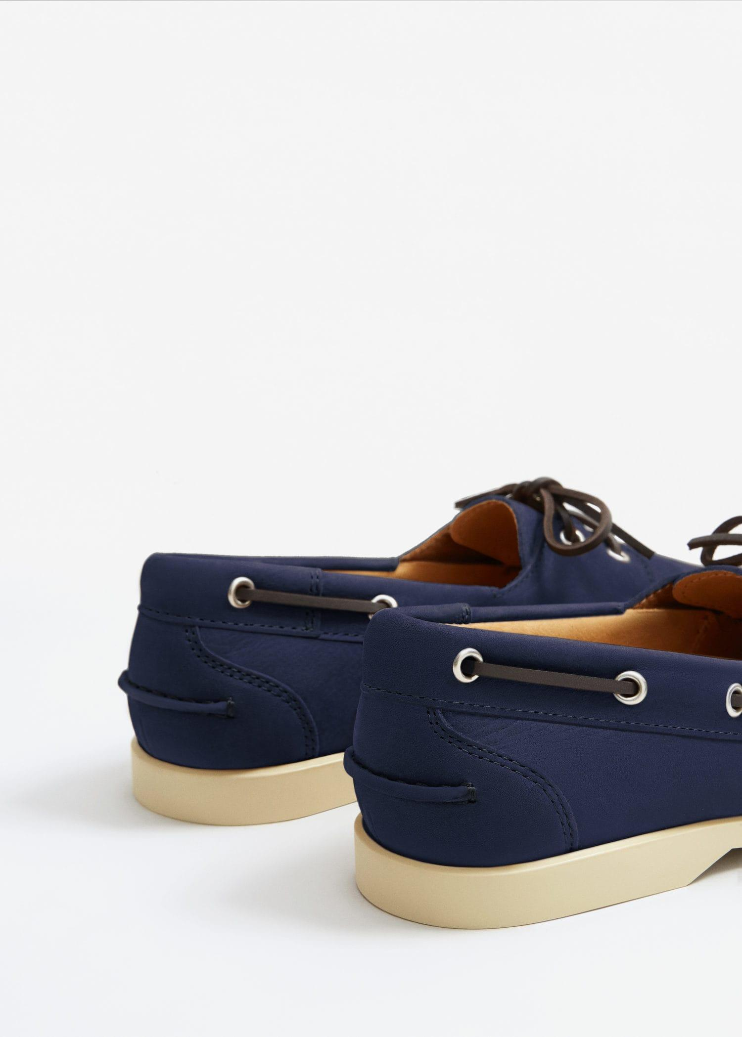 Mango Nubuck Leather Boat Shoes in Blue for Men