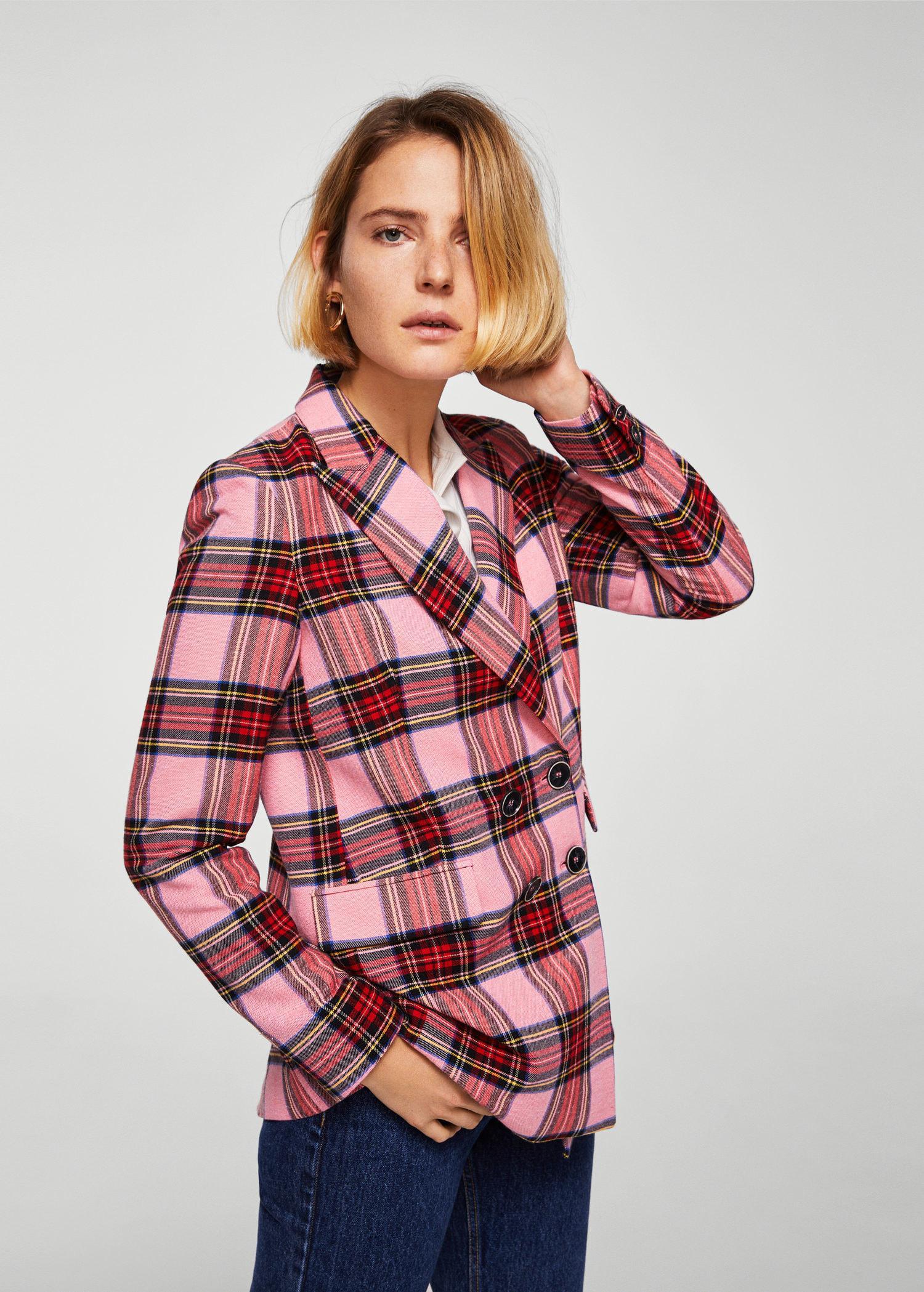 Lyst Mango Check Structured Blazer In Pink
