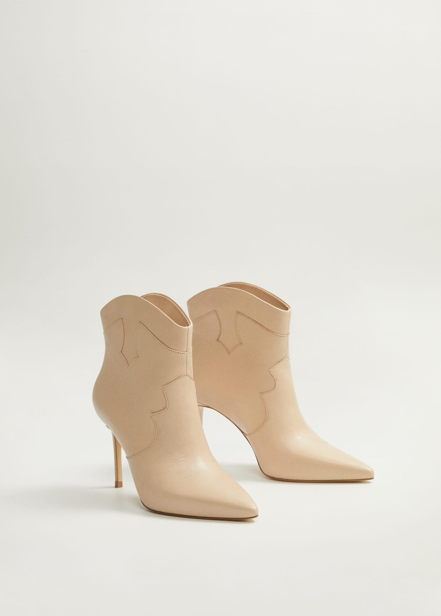 Mango Heel Leather Ankle Boot in Nude