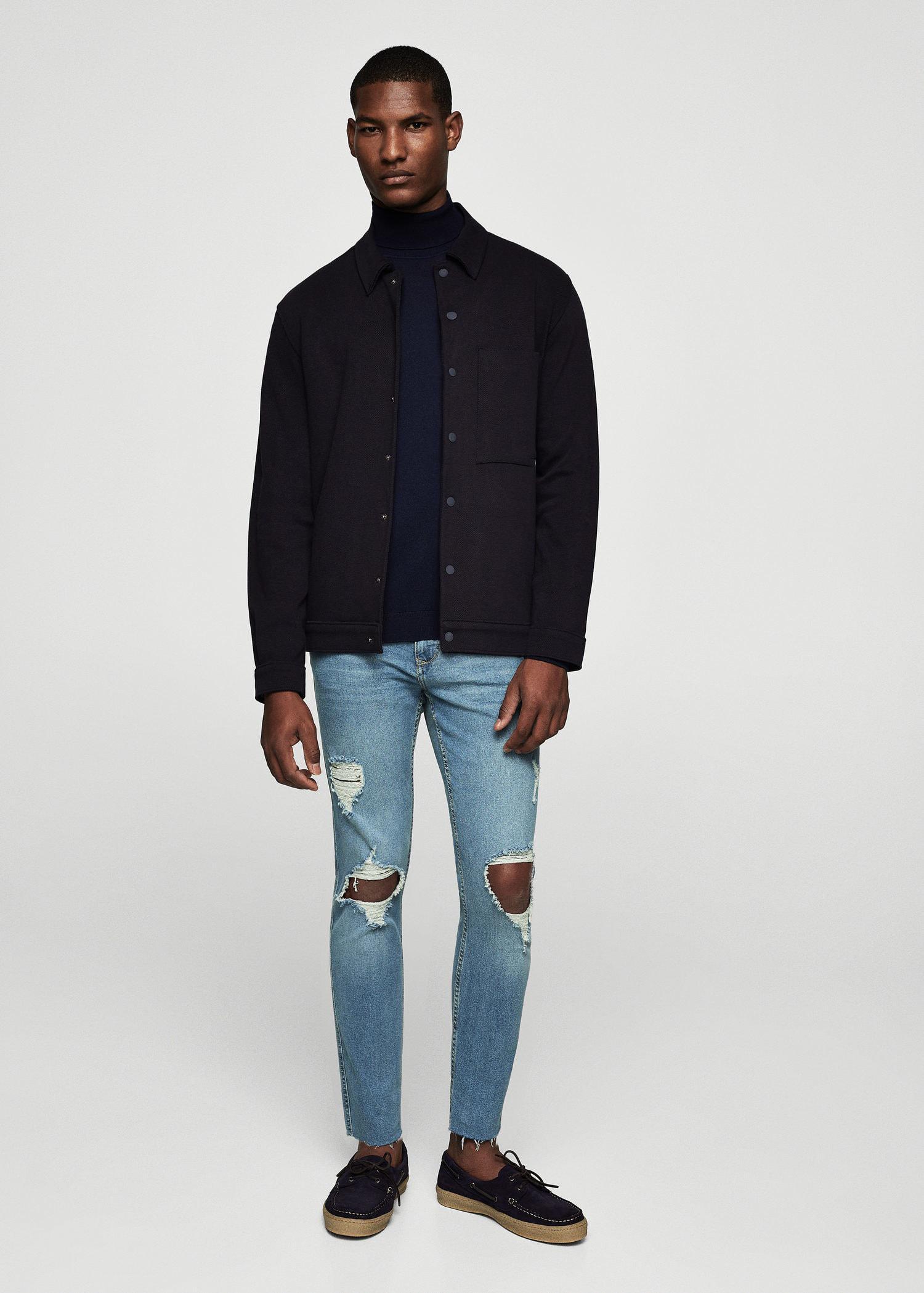 Mango Denim Skinny Greg Ripped Jeans in Light Blue (Blue) for Men