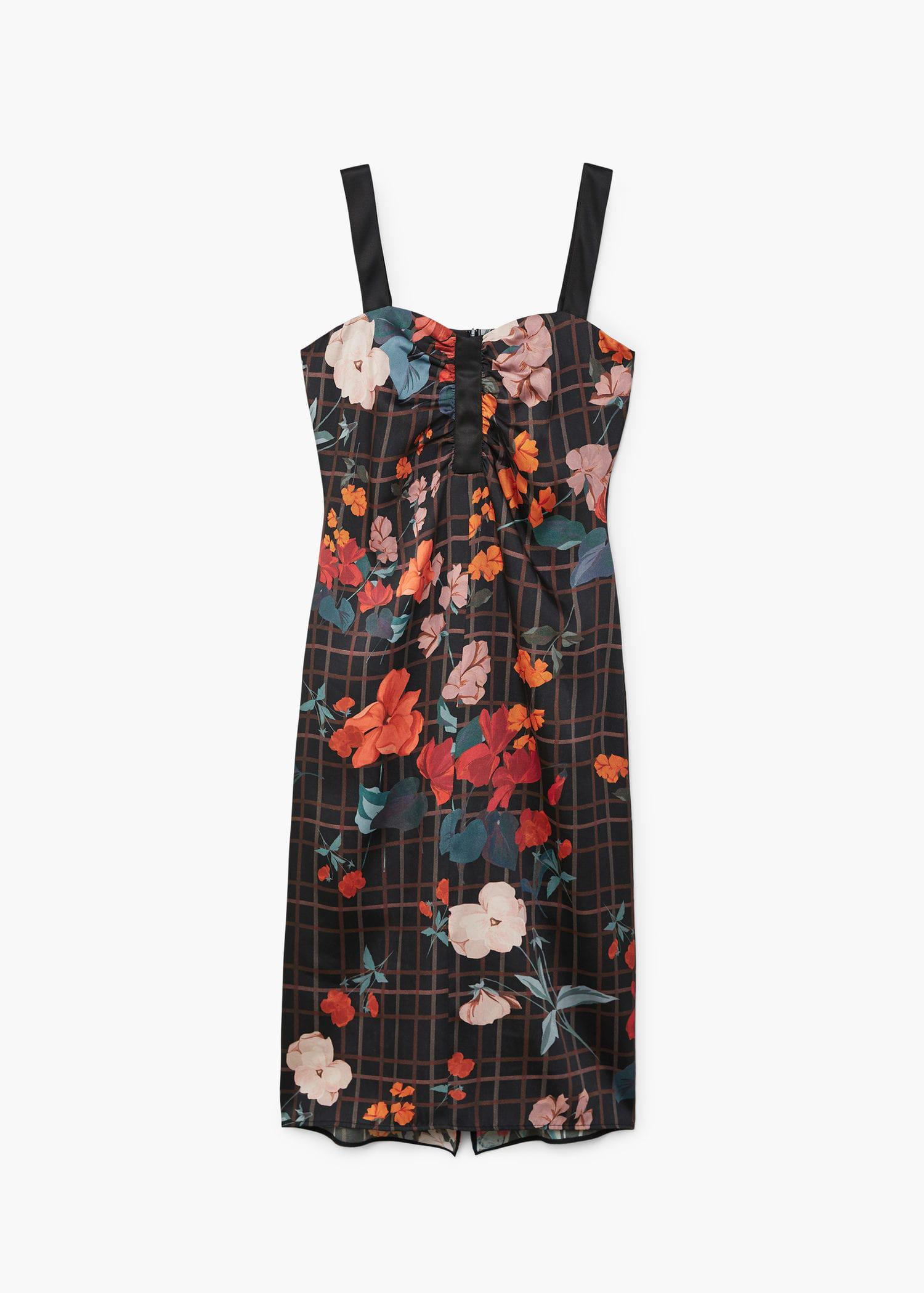 Mango Synthetic Contrasting Print Dress in Black