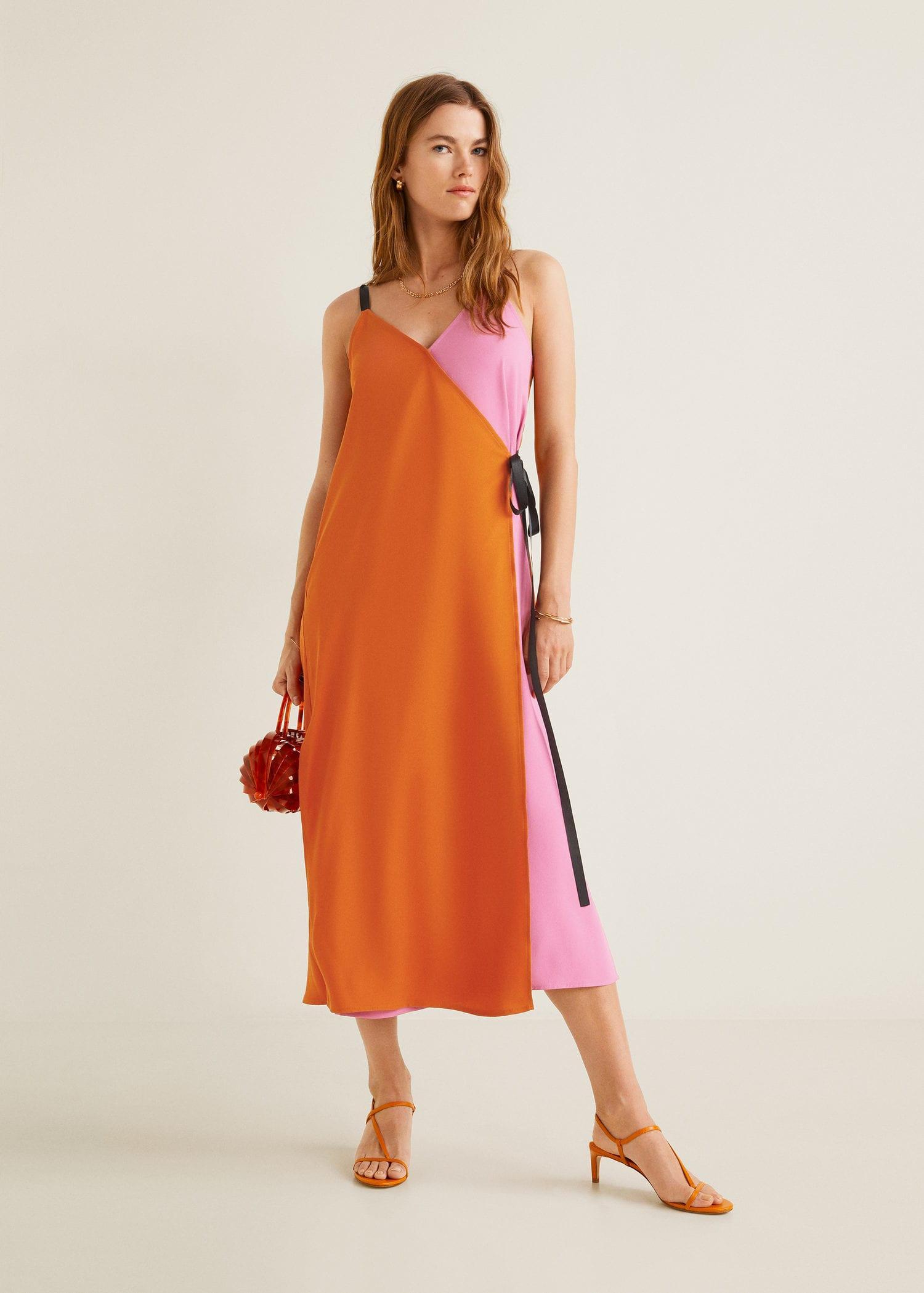 6eaab8b2b80 Mango - Orange Bow Bicolor Dress - Lyst. View fullscreen