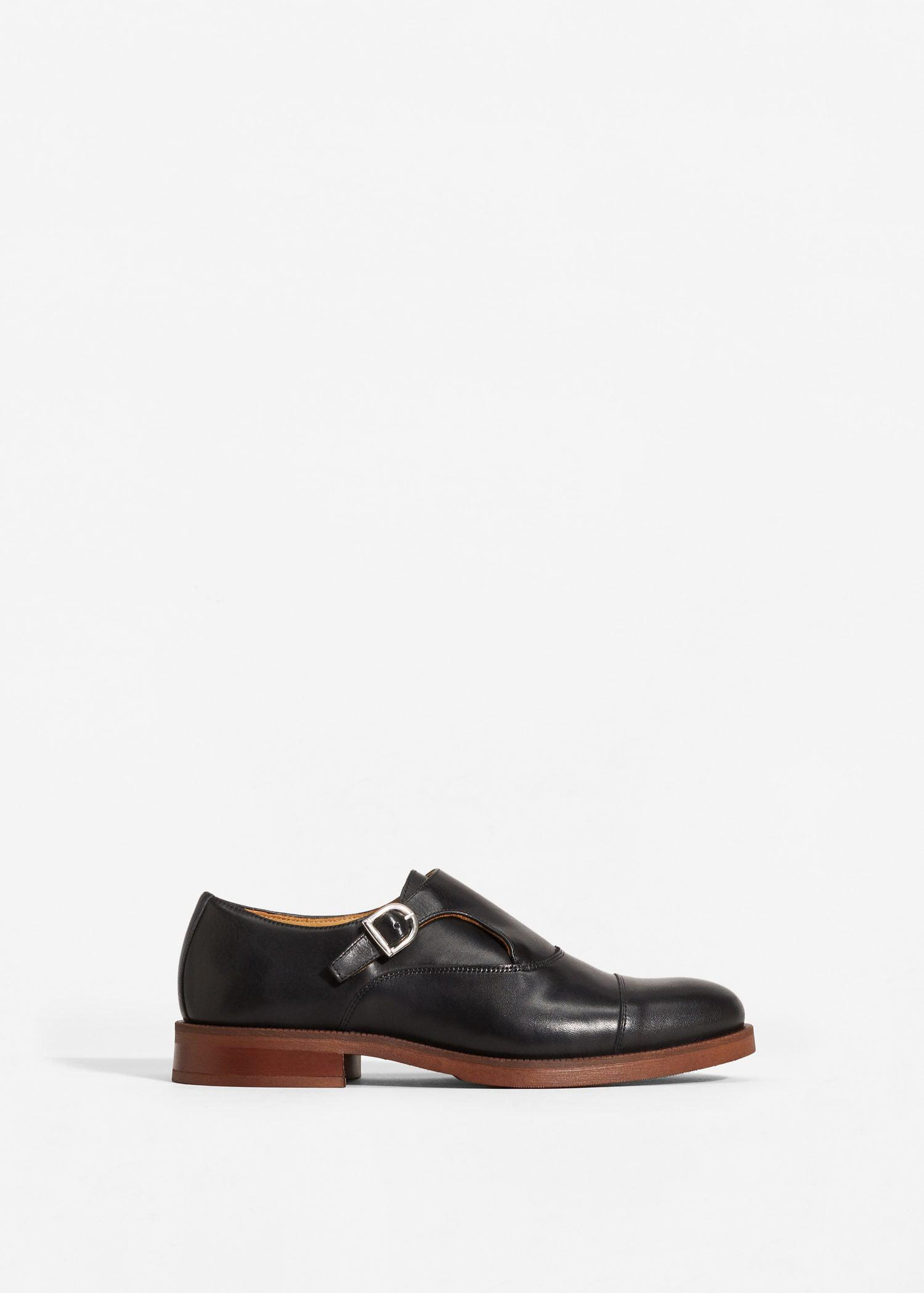 Mango Leather Monk-strap Shoes in Black for Men
