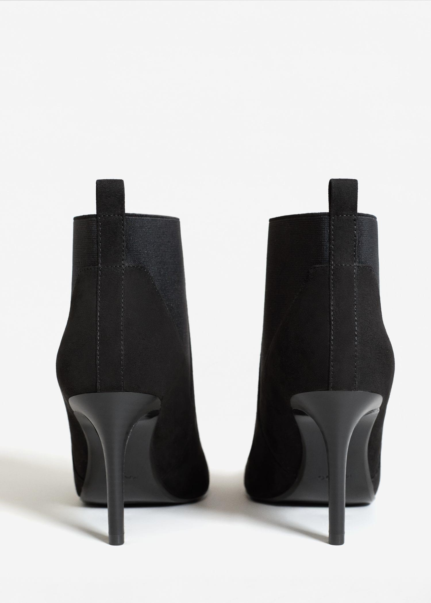 Mango Synthetic Elastic Heeled Ankle Boot in Black