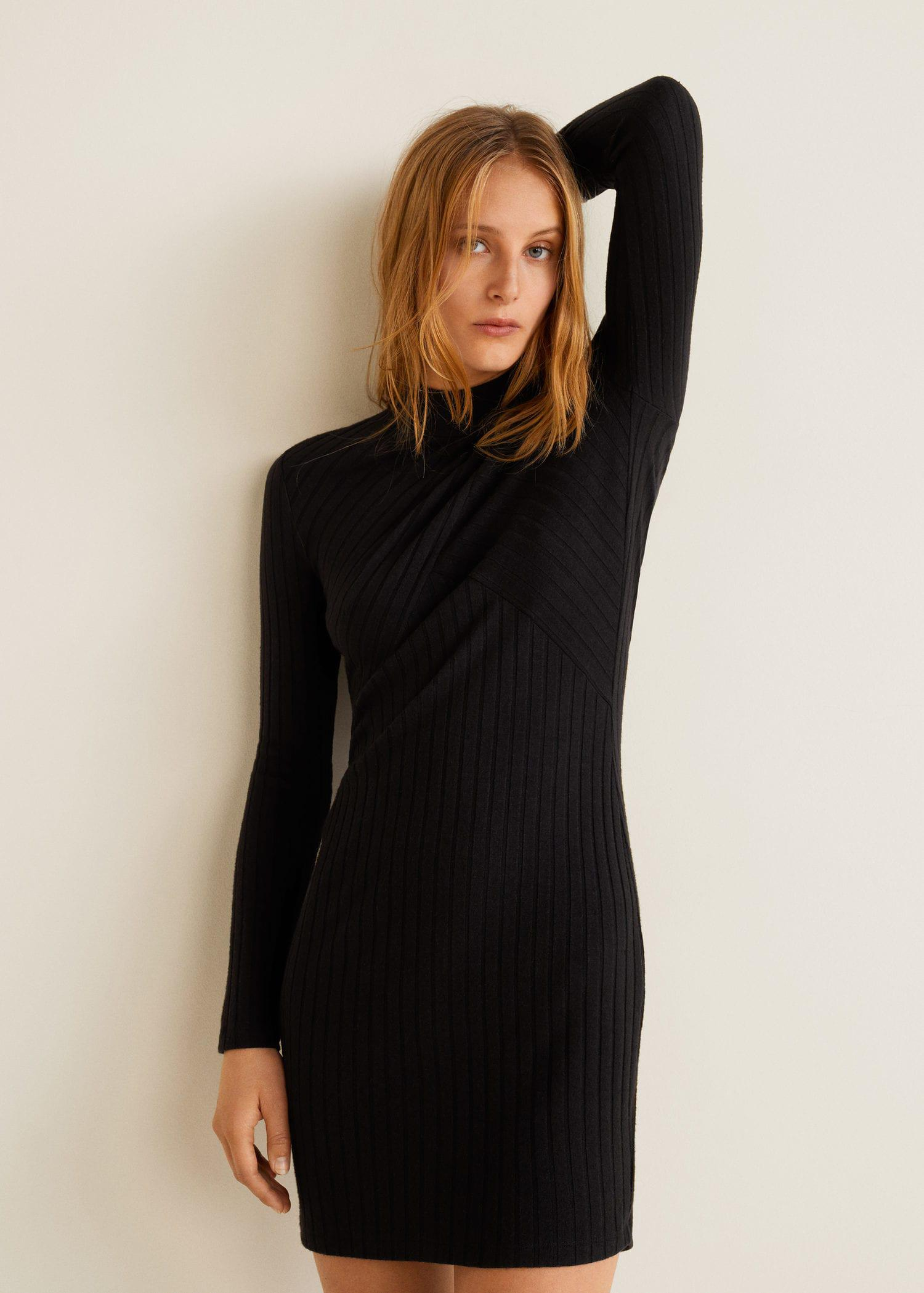 6e9c3ccafd3a Lyst - Mango Tailored Ribbed Dress in Black