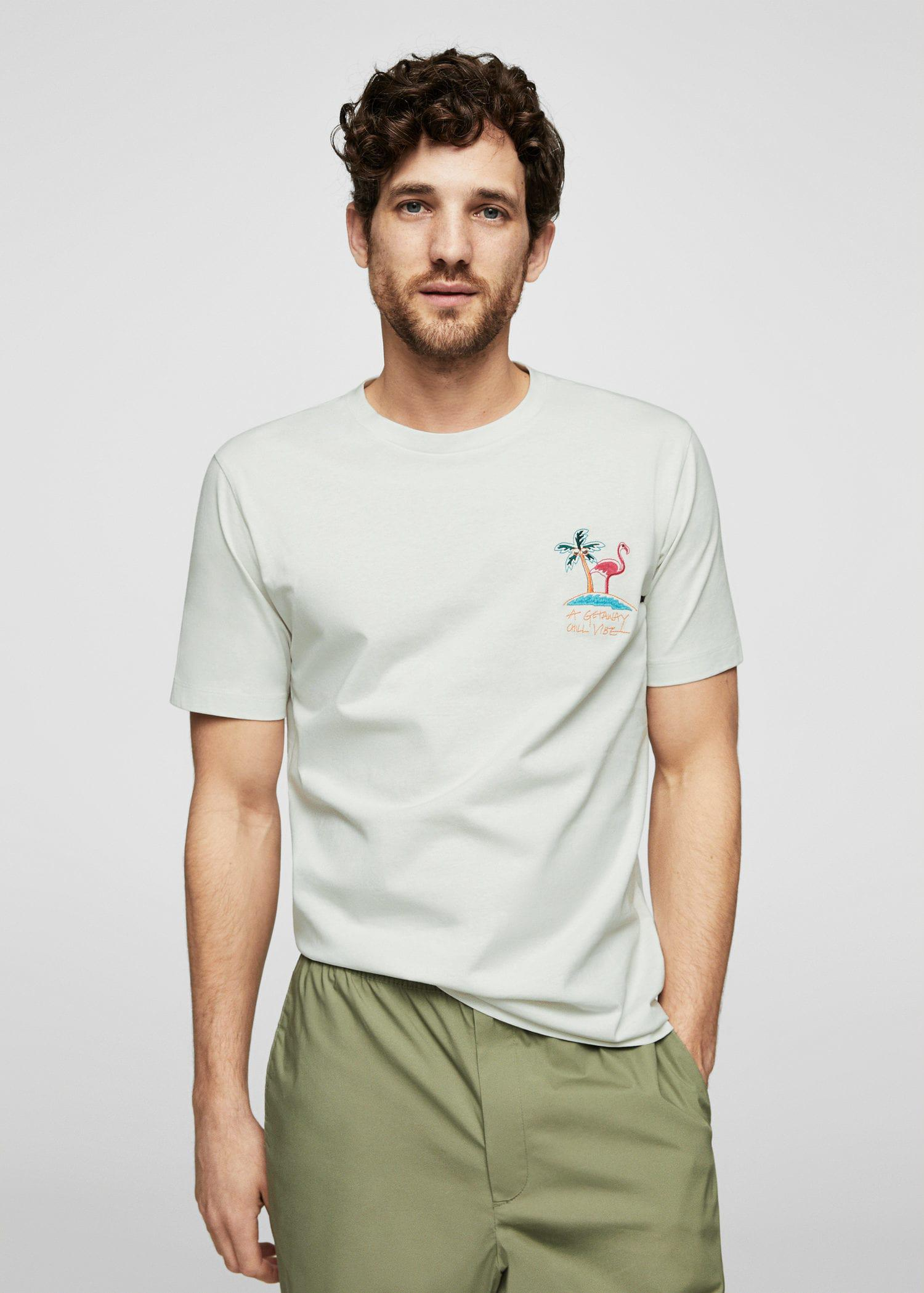 Footlocker For Sale Man Embroidered T-Shirt In White - White Mango Sale Choice Fast Express Cheap Footlocker 1pQmZFBuTM