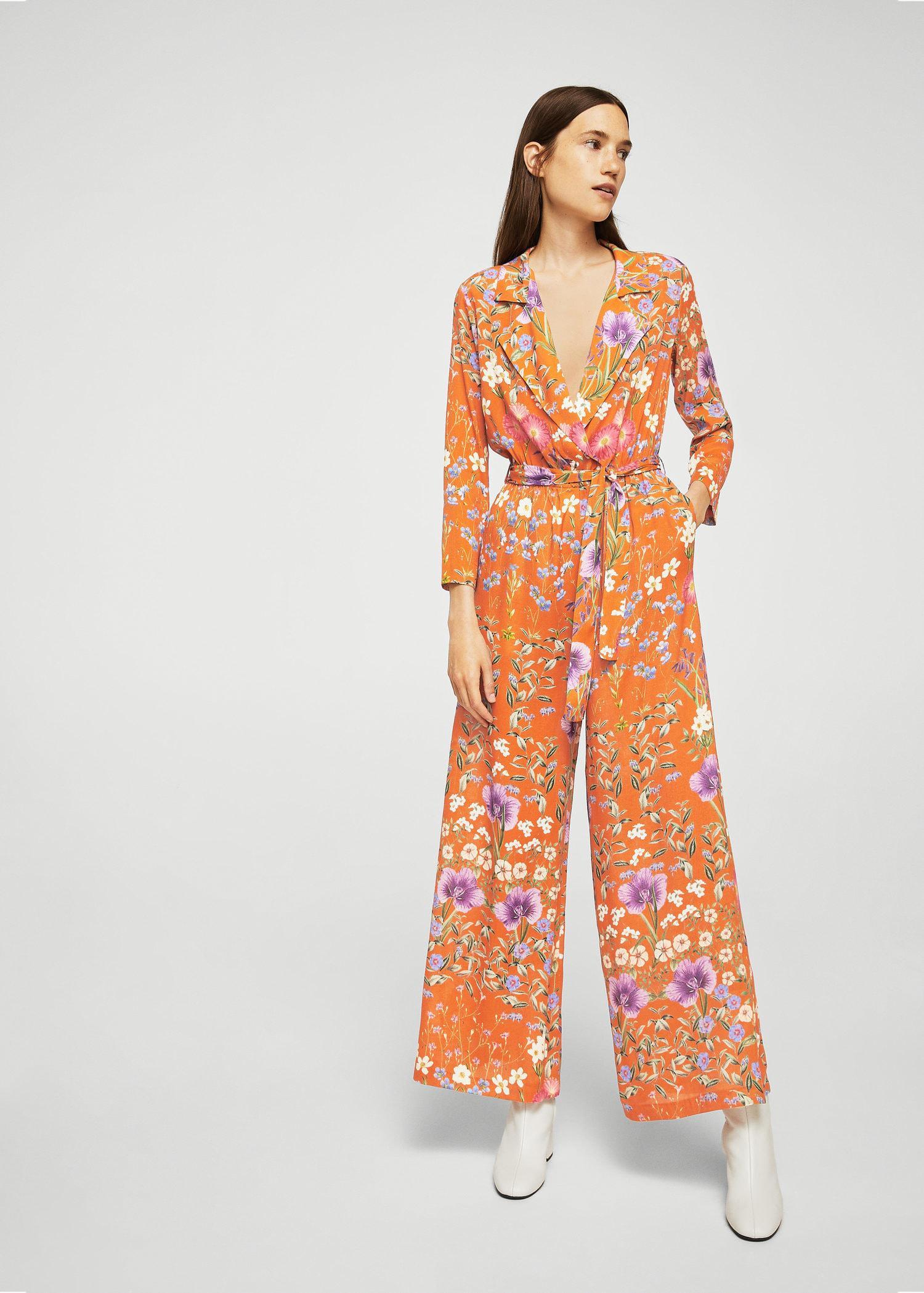 d40918712c6 Lyst - Mango Floral Wrap Jumpsuit in Orange
