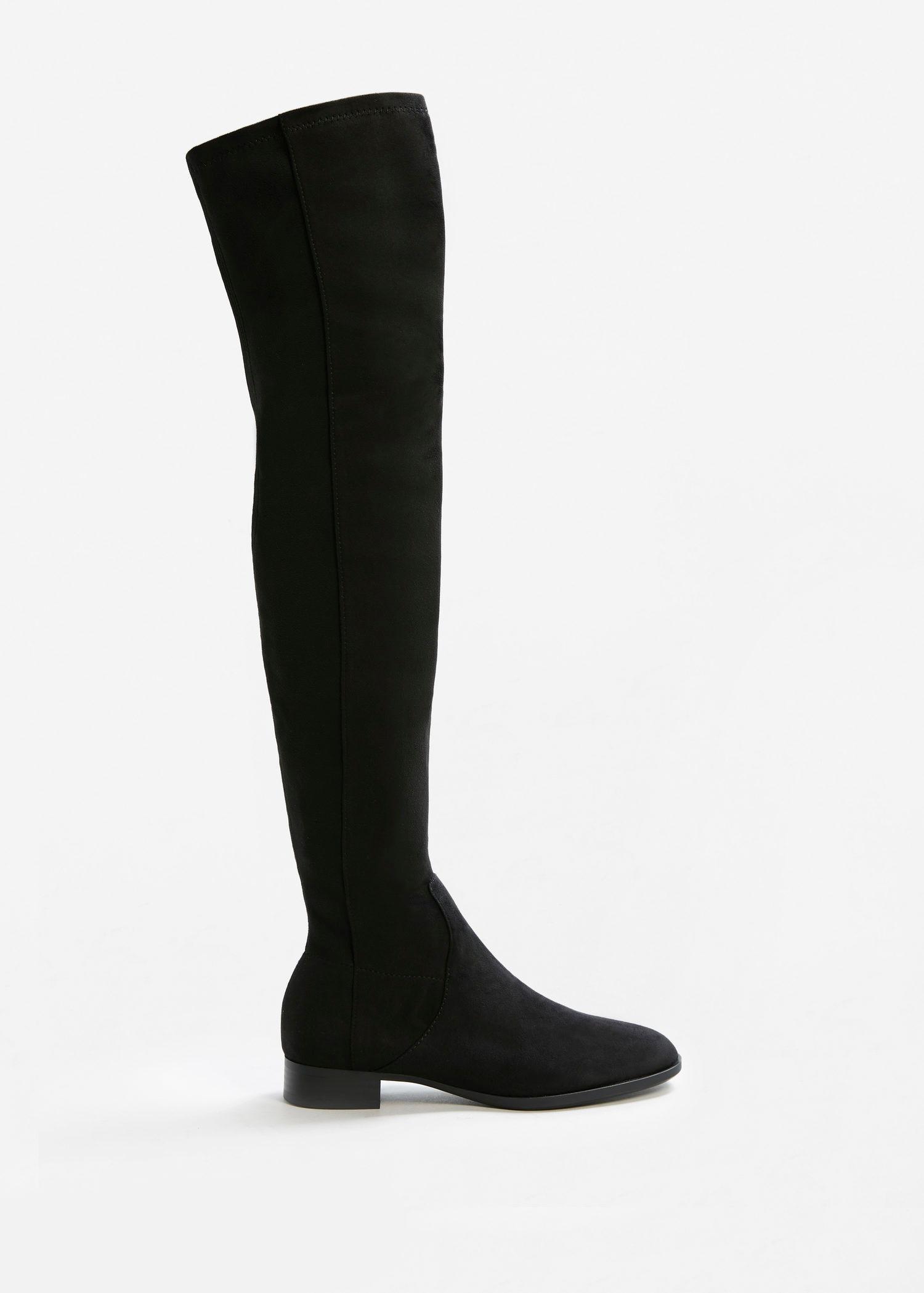 6ba5fb3d965 Mango Black Flat Over-the-knee Boots
