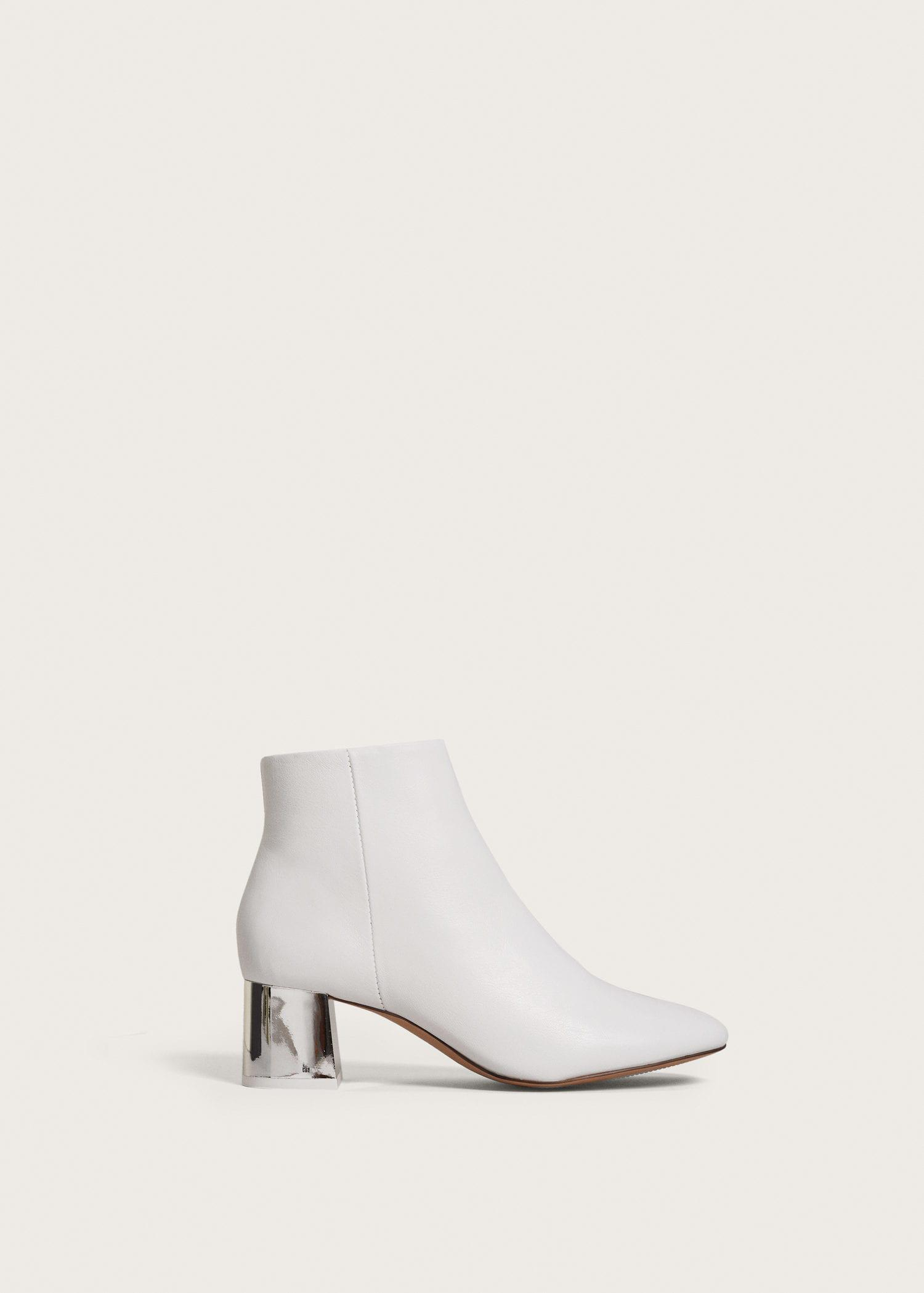ad1256d6172 Violeta by Mango White Metallic Heel Leather Ankle Boots