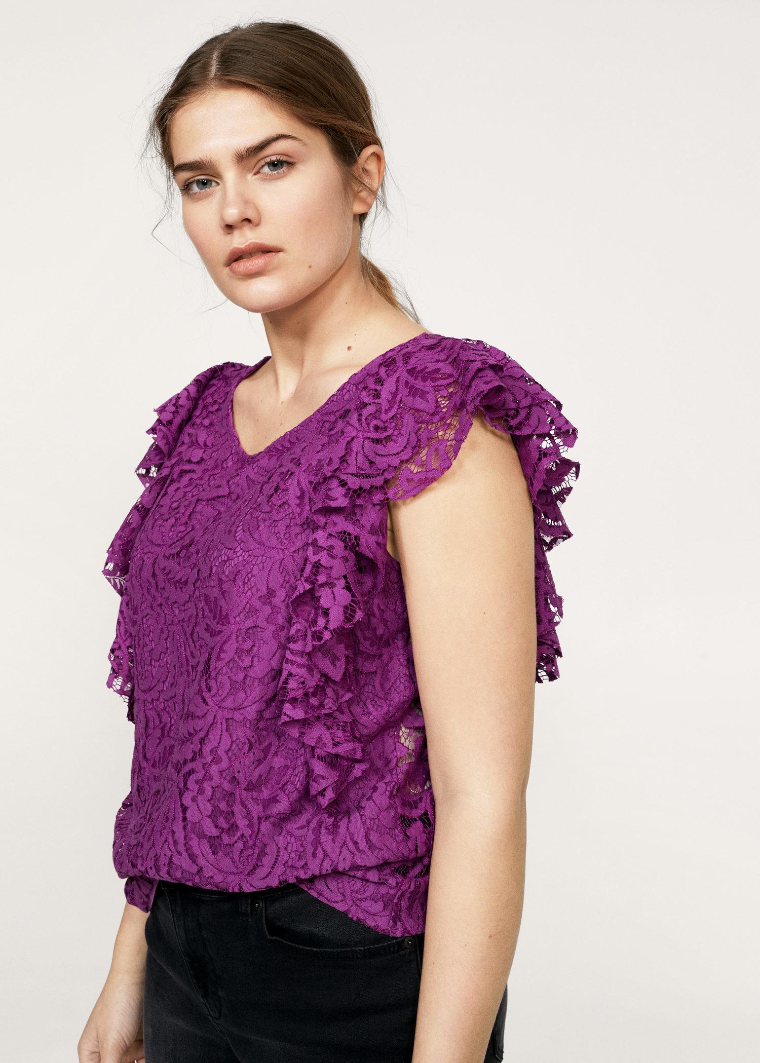 Cheap Sale Wholesale Price Discount Real MANGO Ruffles lace top p77TnQT1k