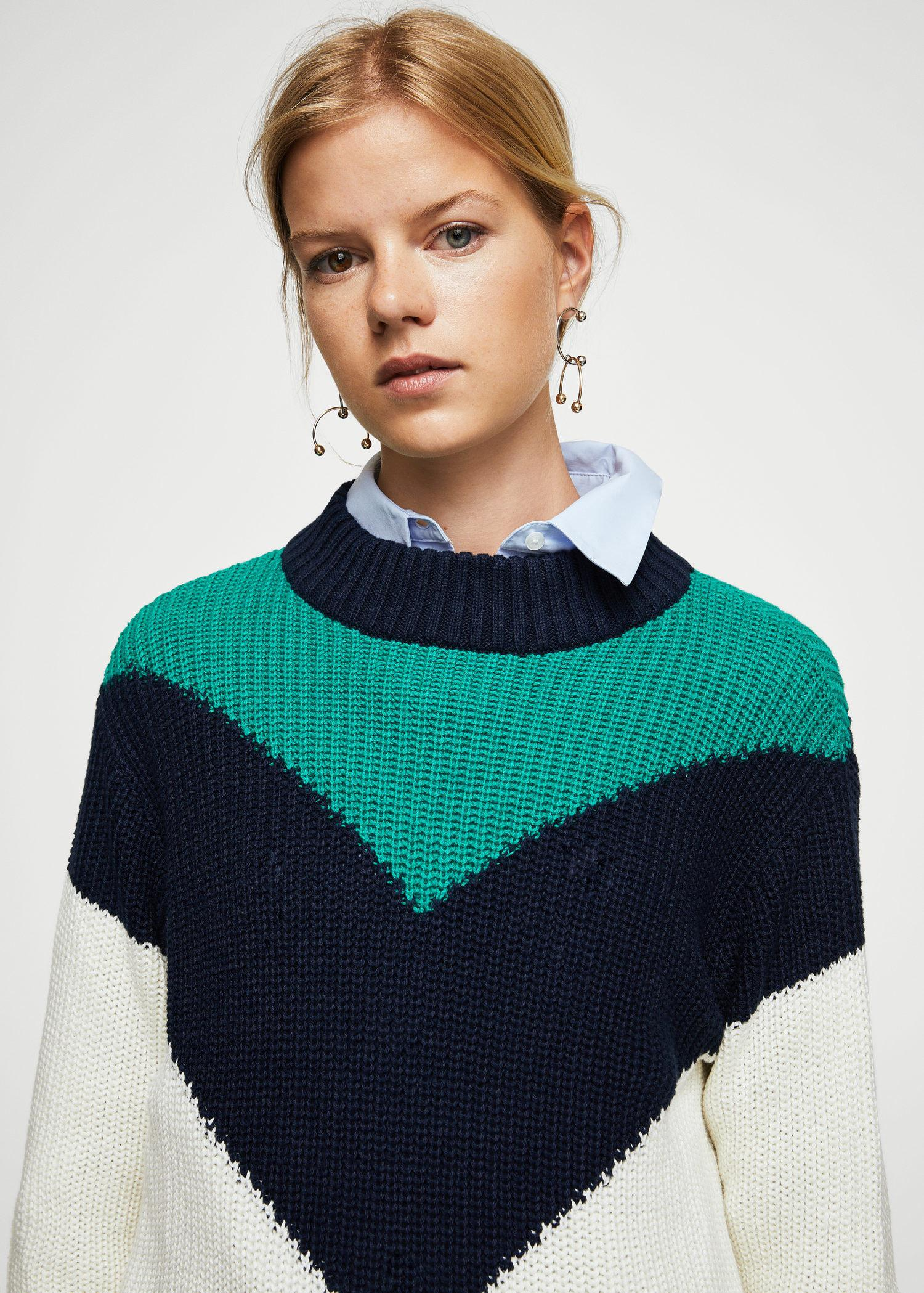 great deals popular brand sleek Mango Cotton Contrasting Knit Sweater - Lyst