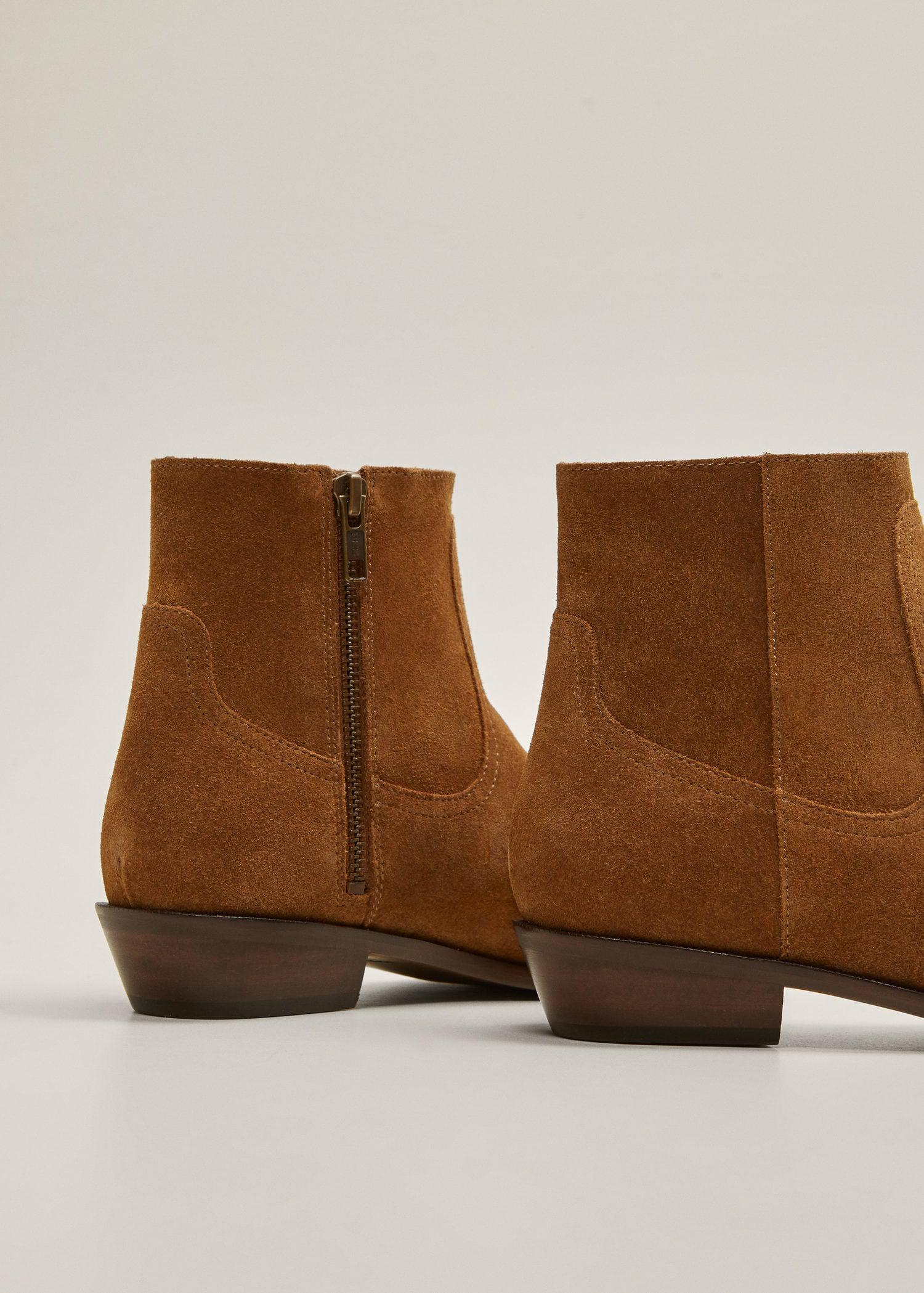 Mango Zipper Leather Boots in Tobacco Brown (Brown)