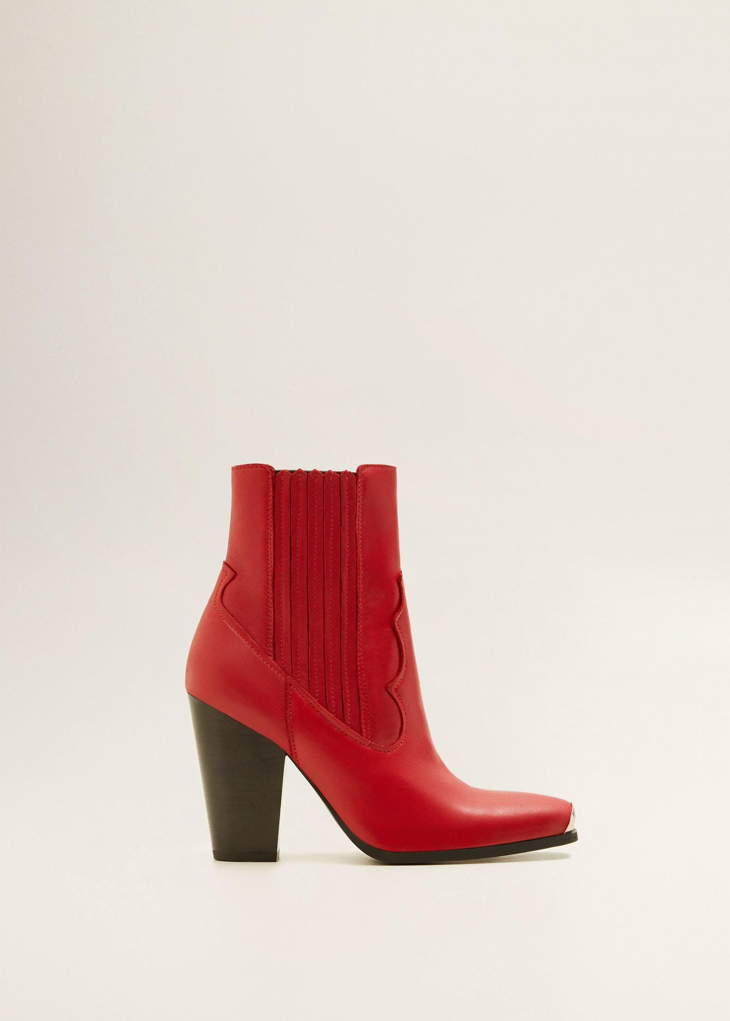 c322c9561b2 Mango Red Leather Cowboy Ankle Boots