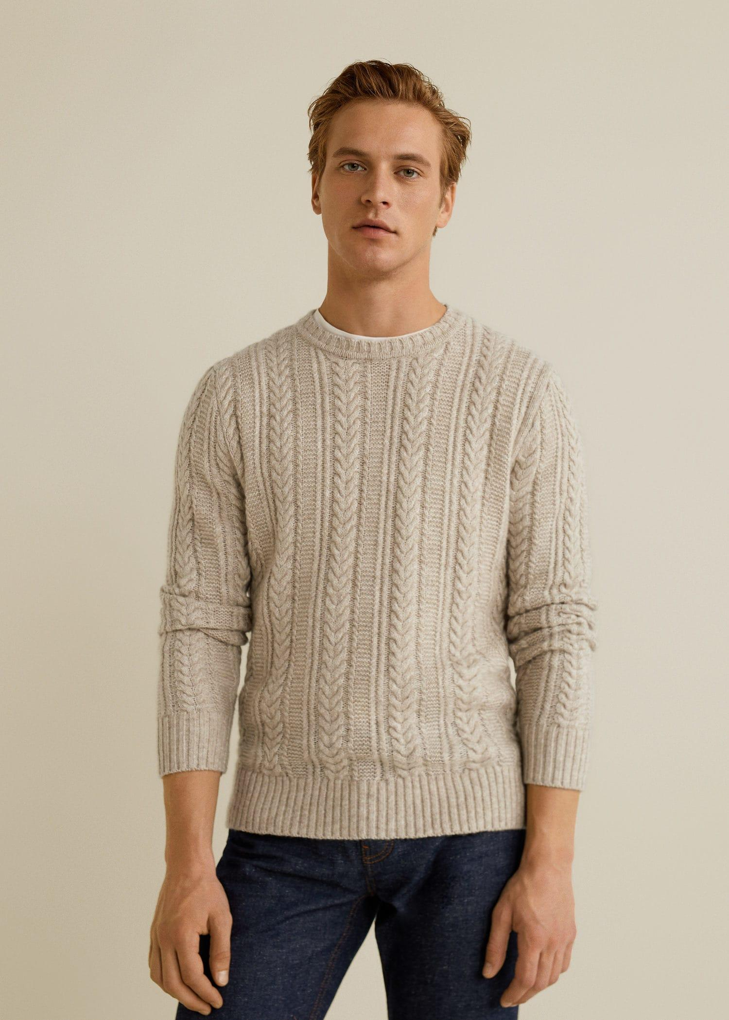 50% price discount coupon codes Mango Cotton Contrasting Knit Sweater in Beige (Natural) for Men ...