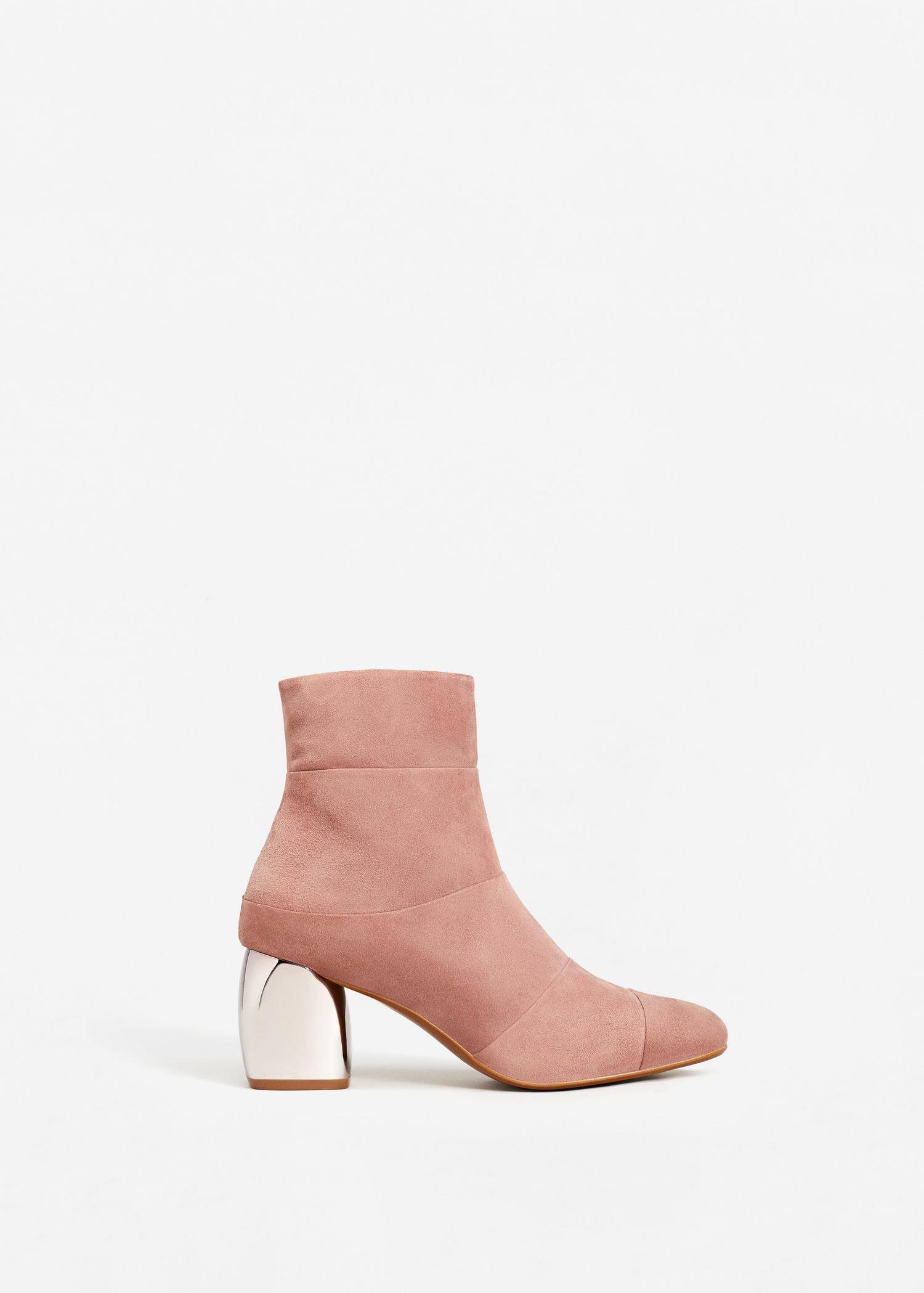 ca86b4bdf35 Mango Pink Mirror Heel Suede Ankle Boots