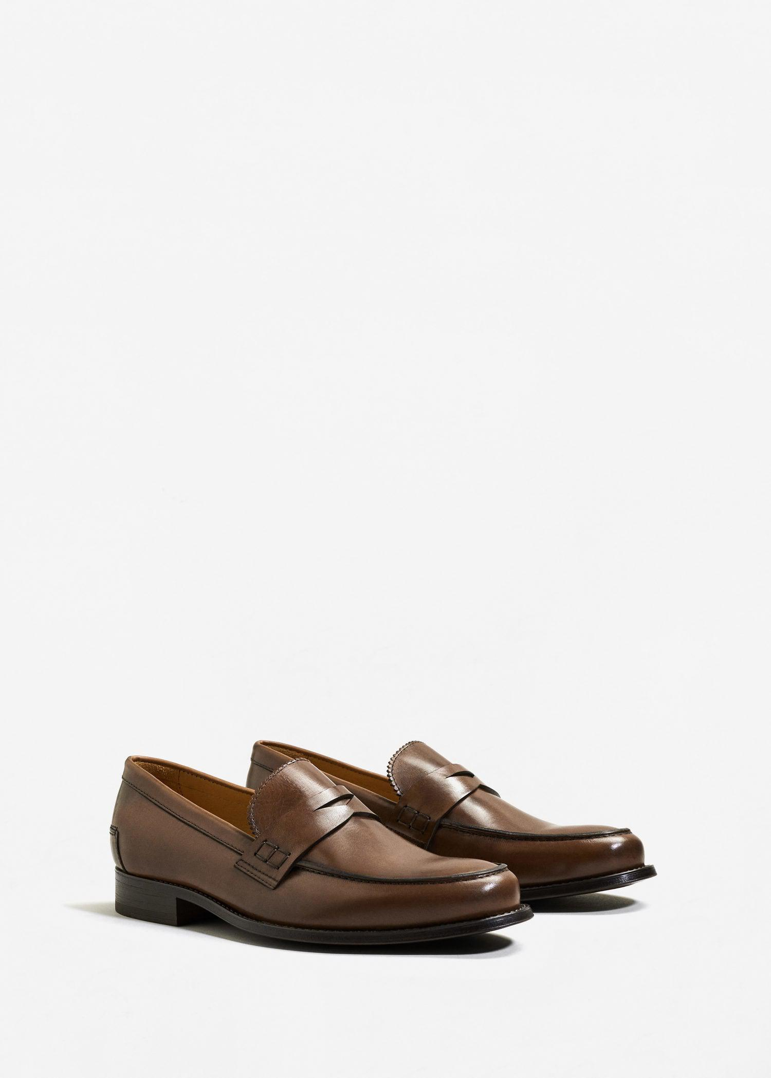 20148139c44 Lyst - Mango Leather Penny Loafers in Brown for Men
