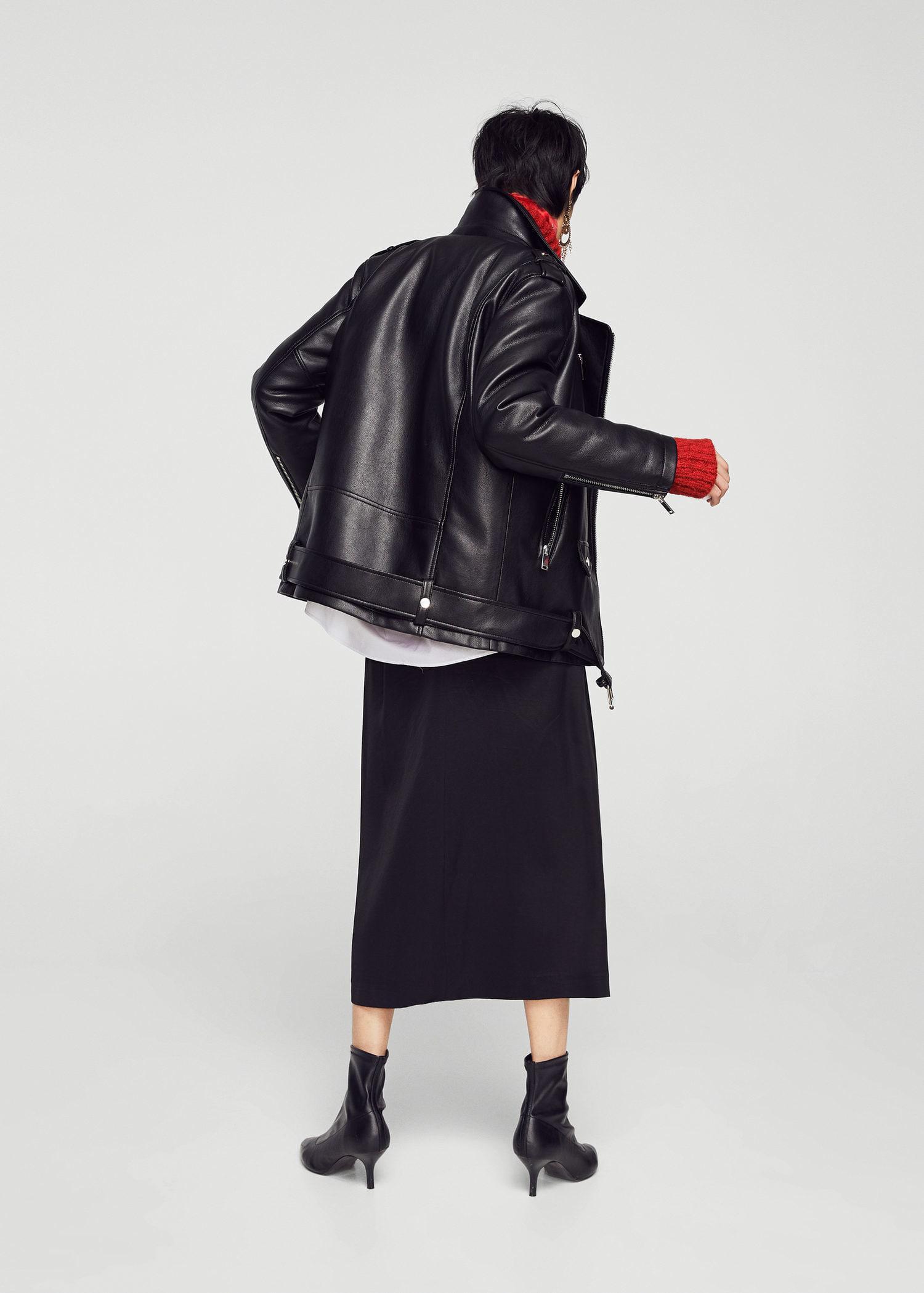 famous designer brand search for original fashionable patterns Mango Black Biker Oversize Jacket