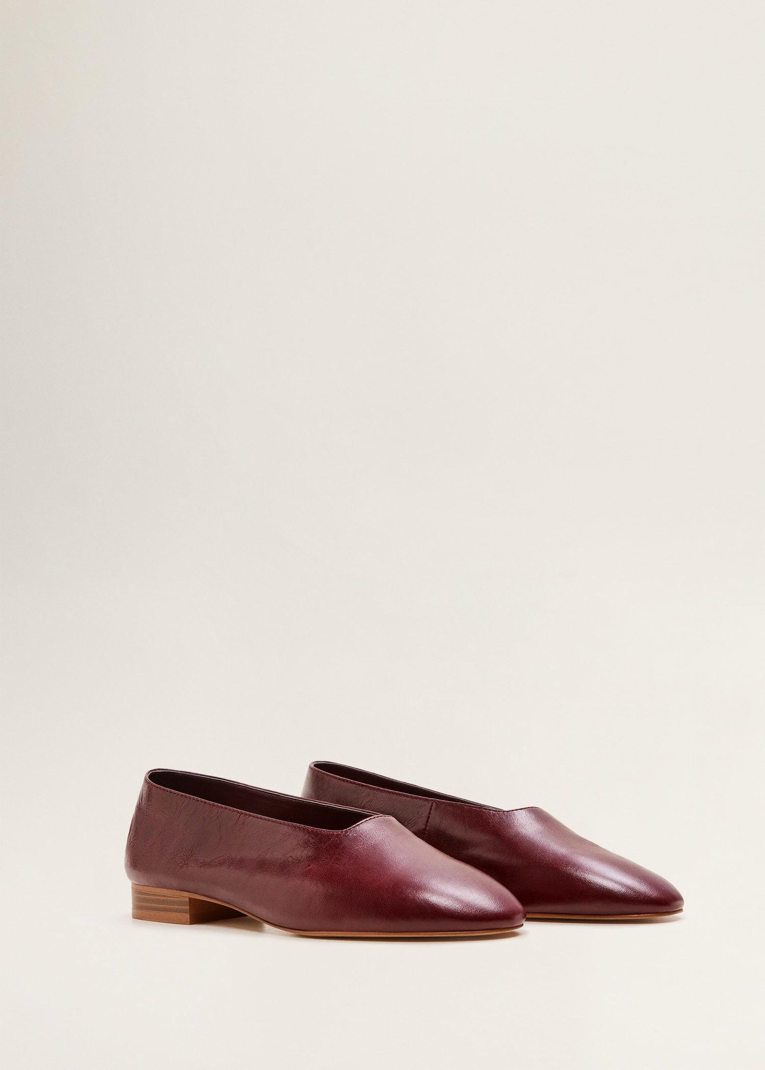 Mango Leather Flat Shoes - Lyst
