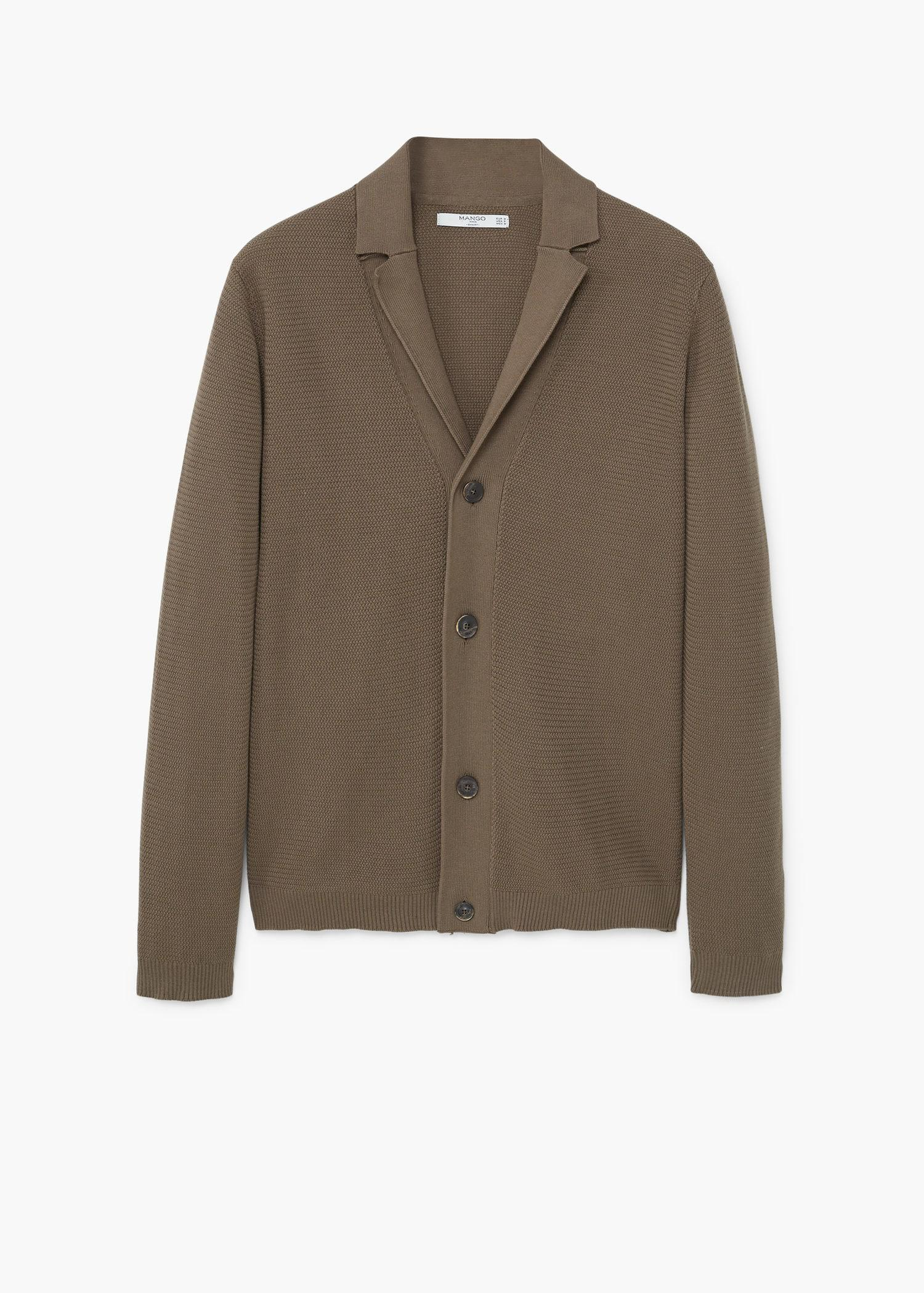 Mango Lapel Cotton Cardigan in Brown for Men | Lyst