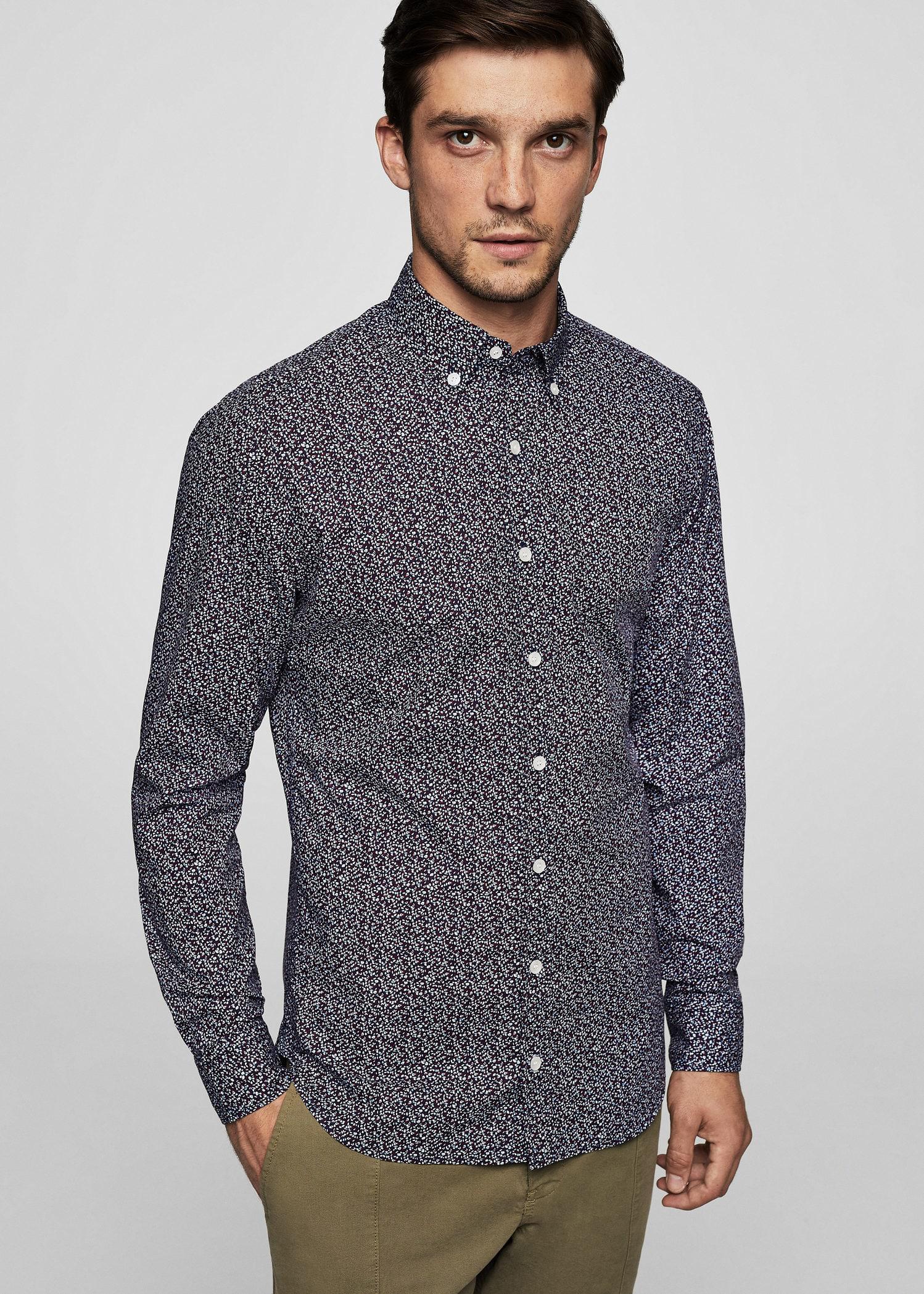 Lyst mango slim fit printed cotton shirt in blue for men for Slim fit cotton shirts