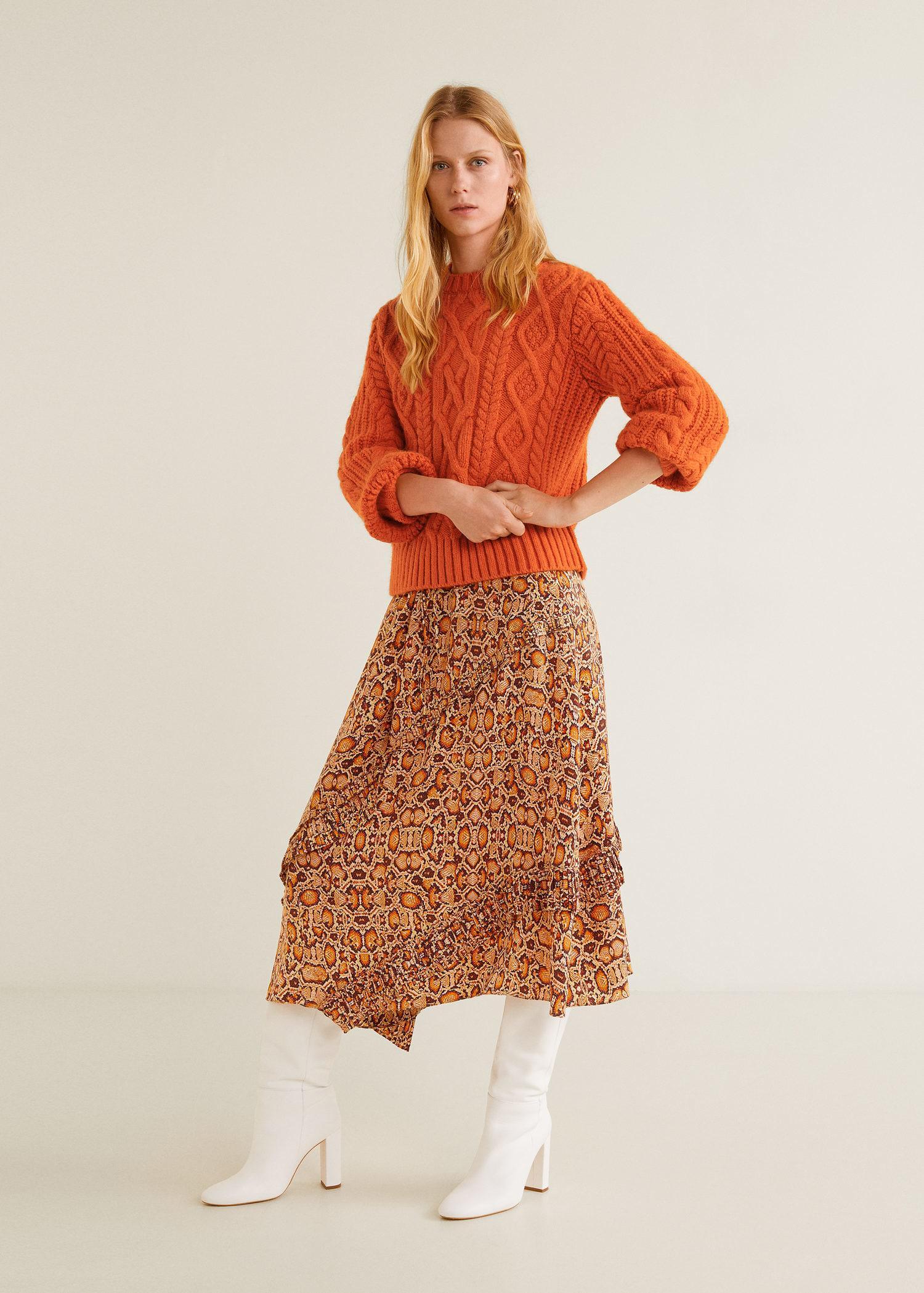 better best loved best quality Mango Contrasting Knit Sweater in Orange - Lyst