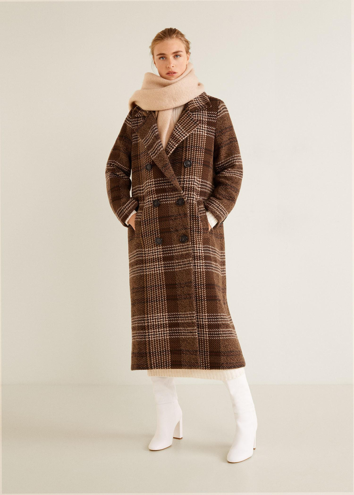 11aff6d8f23 Mango Brown Checked Recycled Wool Coat
