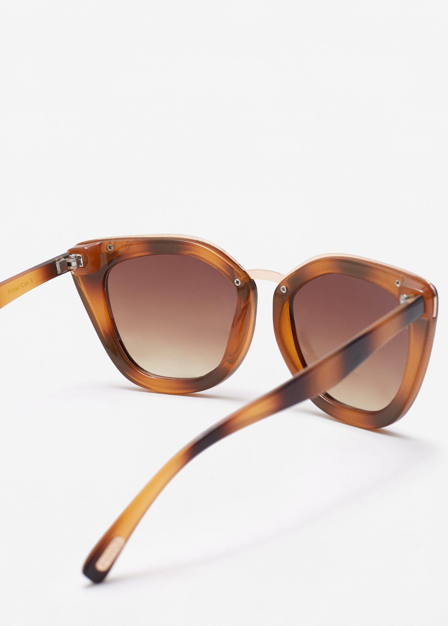 Mango Tortoiseshell Retro Sunglasses in Chocolate (Brown)