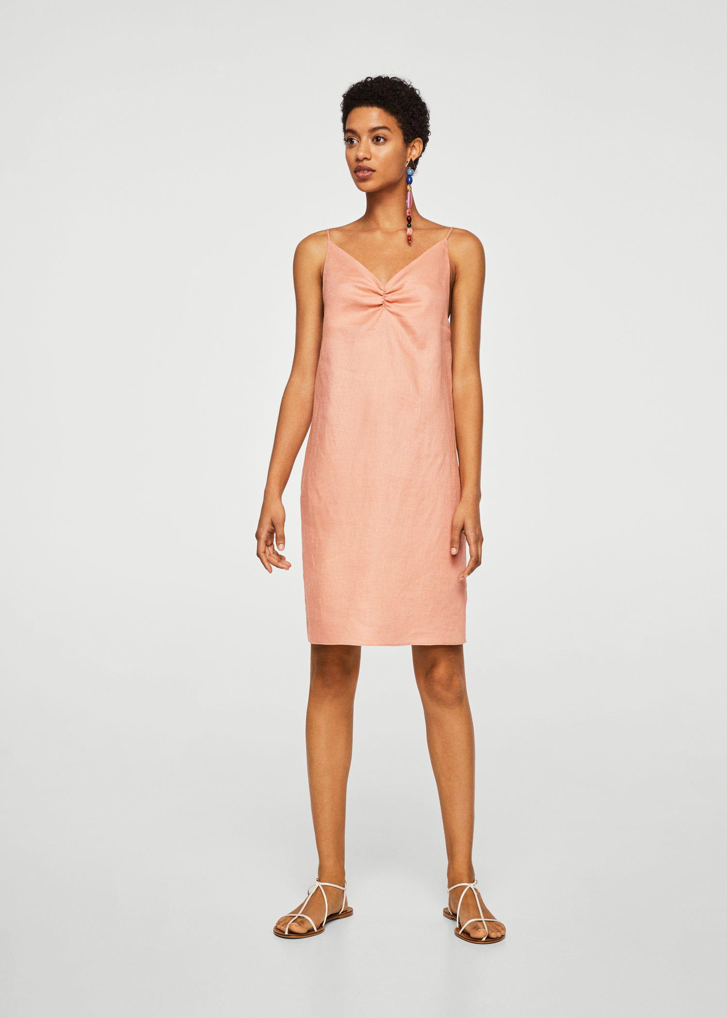 9d2ba707d5 Lyst - Mango Linen Strap Dress in Pink
