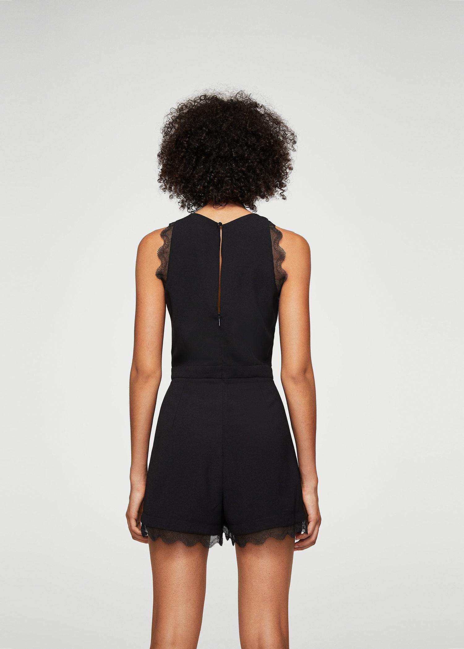 8dcc0f8bb6f Lyst - Mango Blond-lace Appliqué Jumpsuit in Black