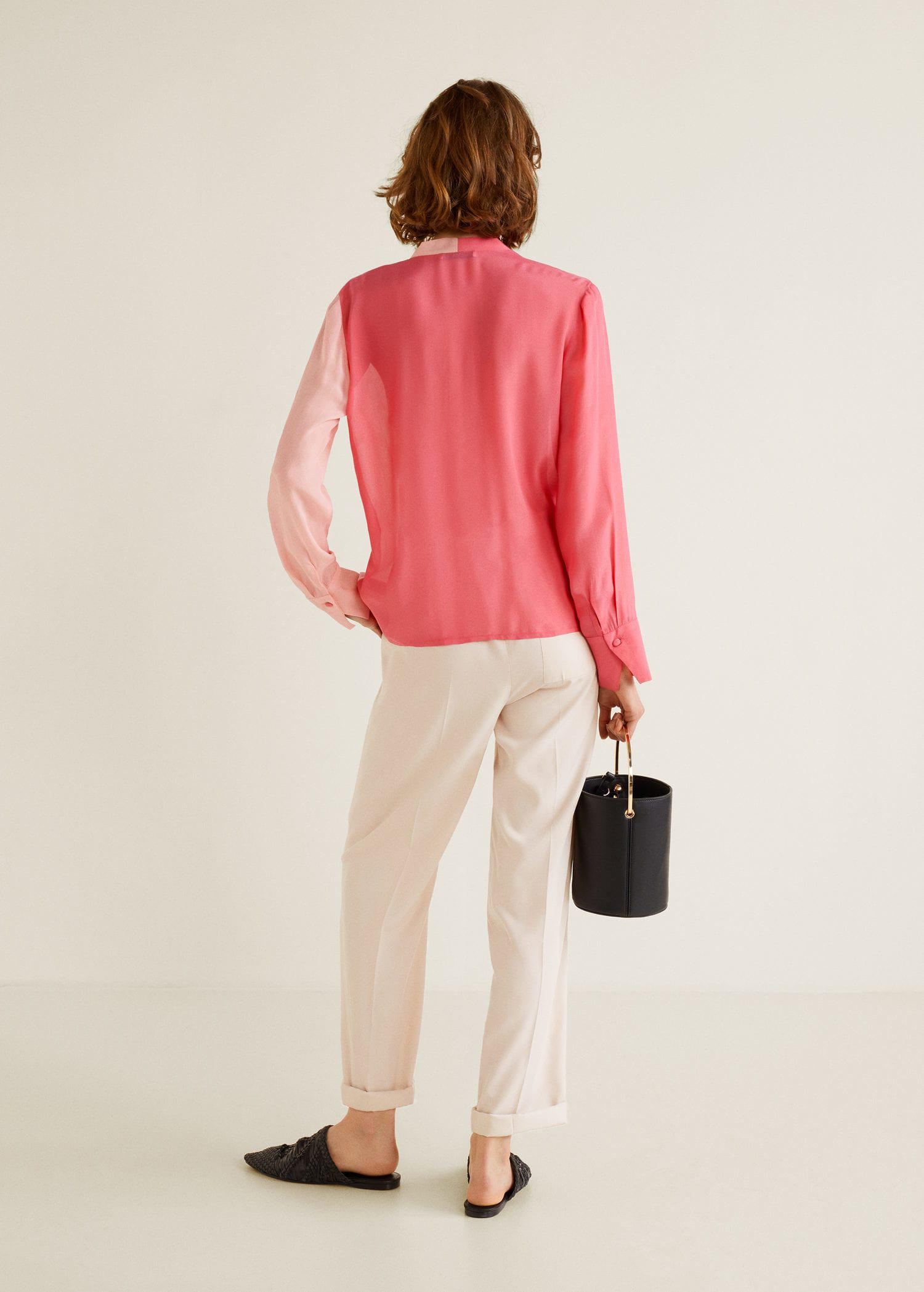 Mango Two-tone Flowy Blouse in Pink