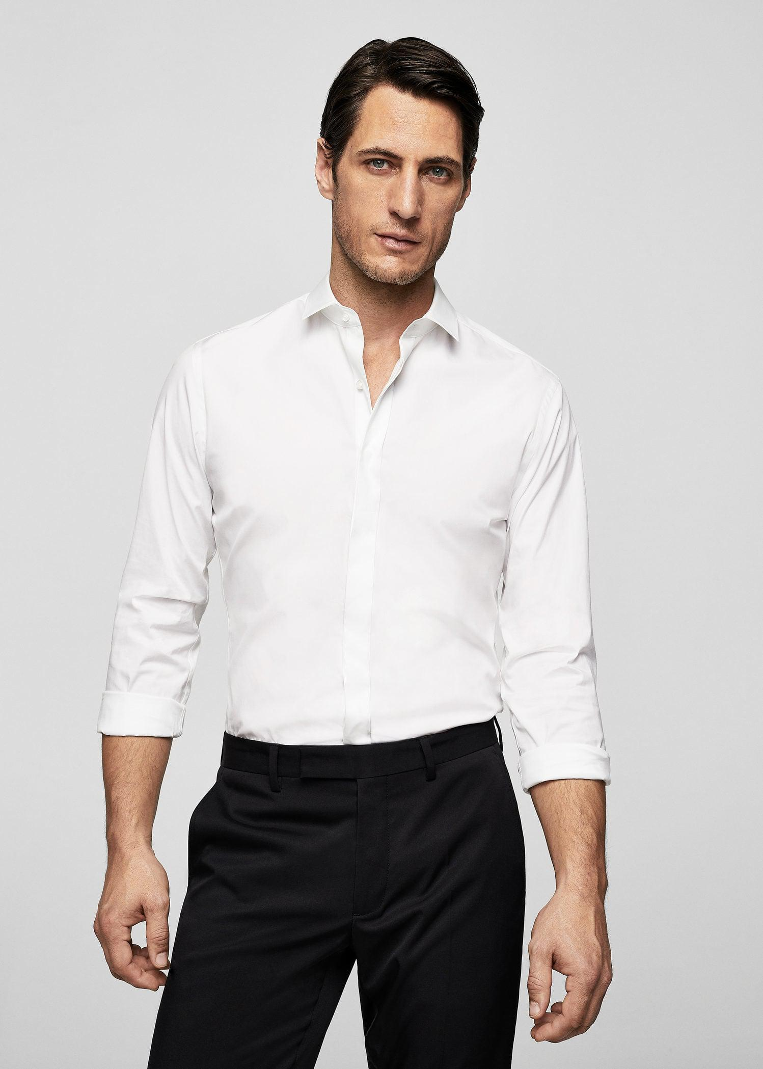 Lyst Mango Slim Fit Tailored Stretch Cotton Shirt In