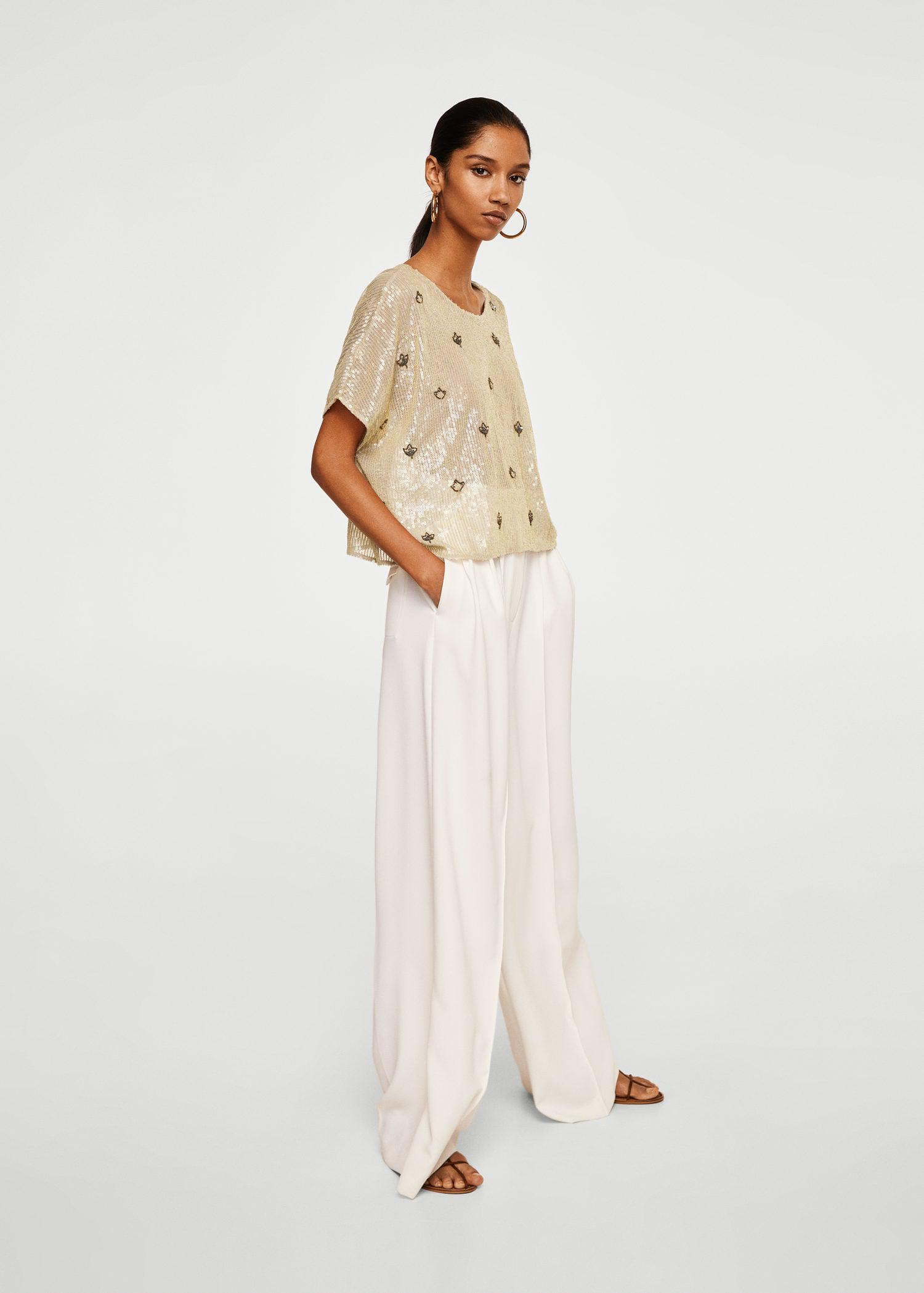 Mango Embroidered Sequins Blouse in Sand (Natural)
