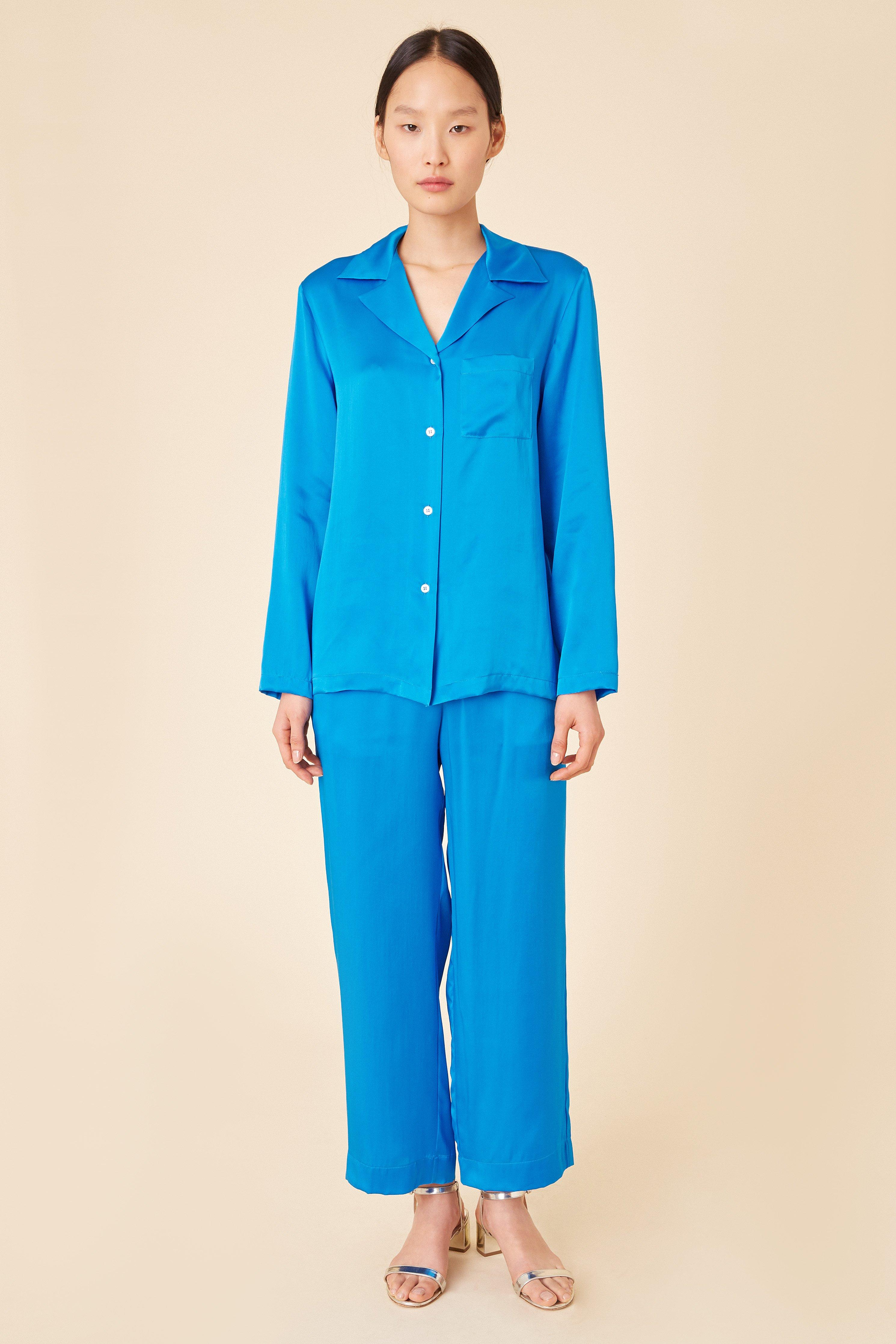b309815e8c1e3 Lyst - Mansur Gavriel Silk Charmeuse Pajama Shirt - Royal in Blue
