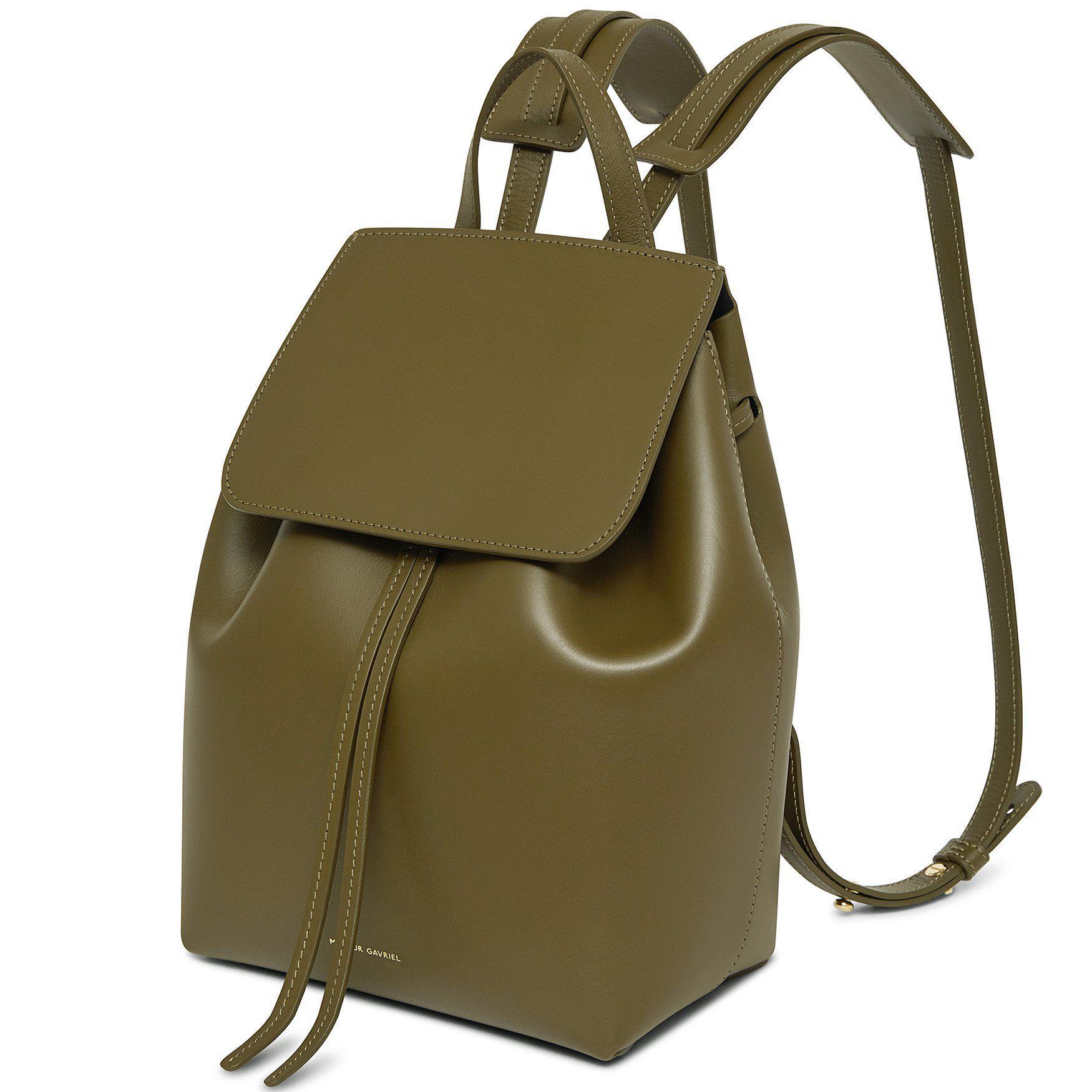Mansur Gavriel Leather Calf Mini Backpack - Olive in Green ...