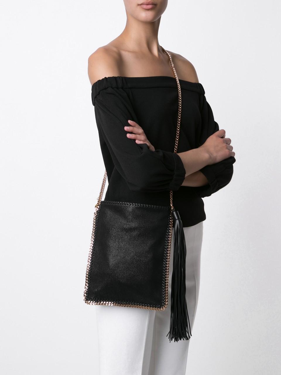 Stella McCartney Falabella Cross-body Tassel Bag in Black