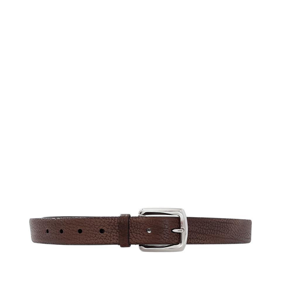 brunello cucinelli leather aged belt in brown lyst