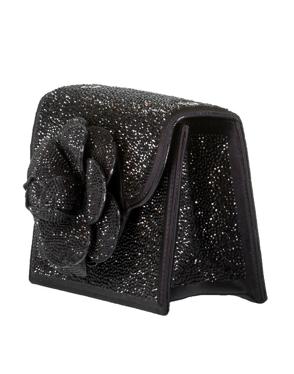 Oscar de la Renta Mini Tro Crystal Suede Crossbody Bag in Black