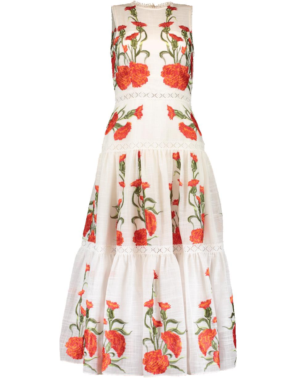 Alexis Leomie Embroidered Floral Midi Dress in Red - Lyst 99e7e6114