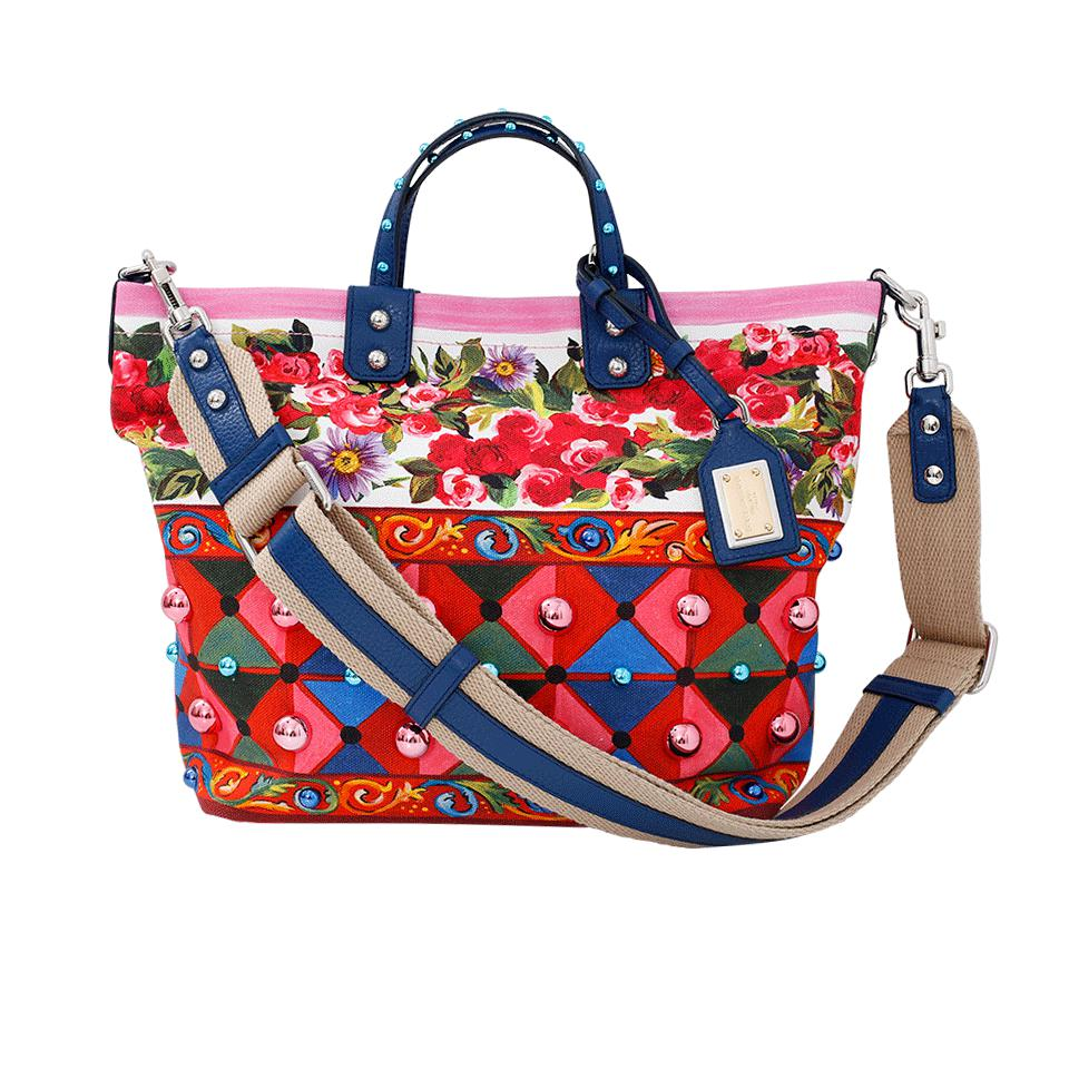 Dolce & Gabbana Rose Print Tote Bag in Red