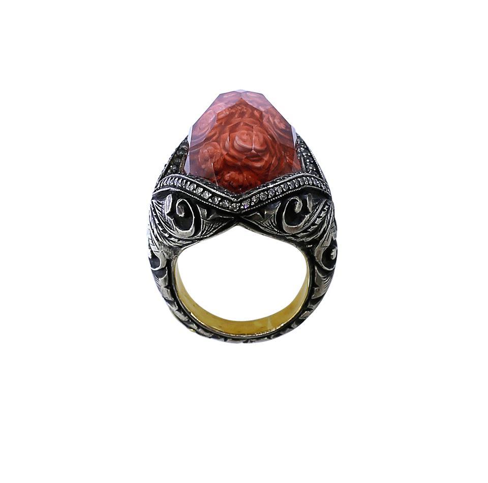 Sevan Biçakci Carved Roses Ring in Red