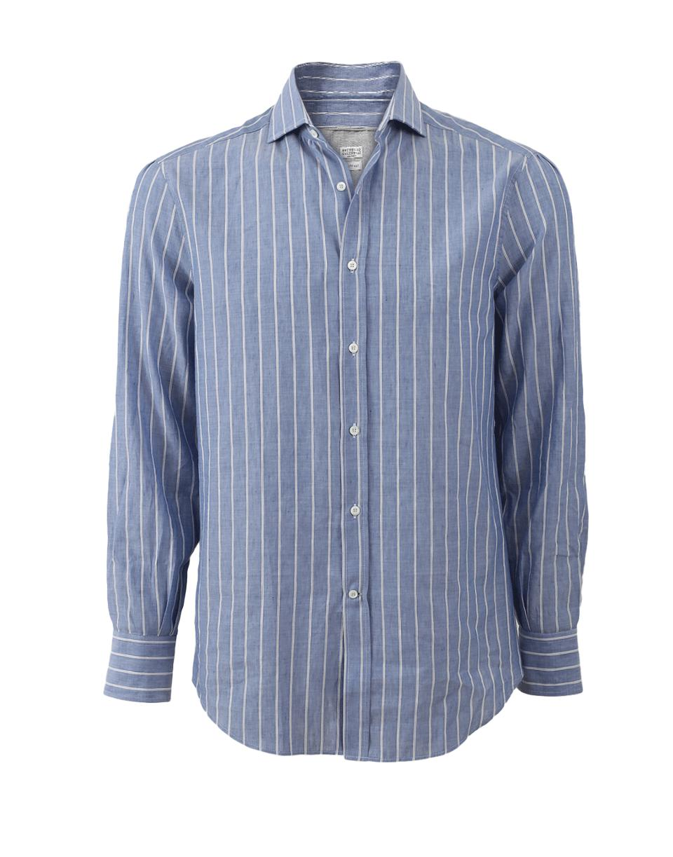 Lyst brunello cucinelli striped shirt in blue for men for Blue striped shirt mens