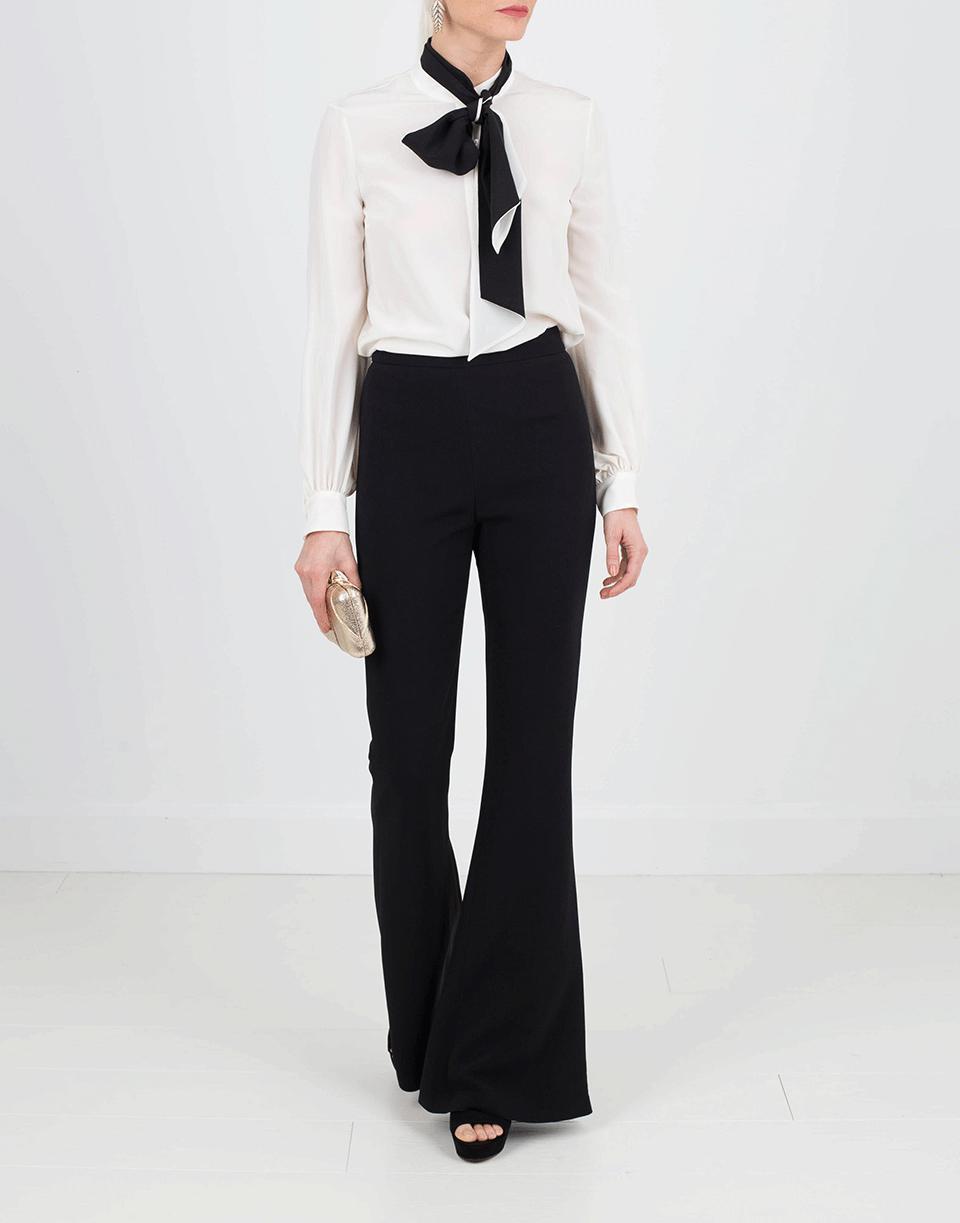 Lanvin Silk Tie Neck Blouse in Ivory (White)