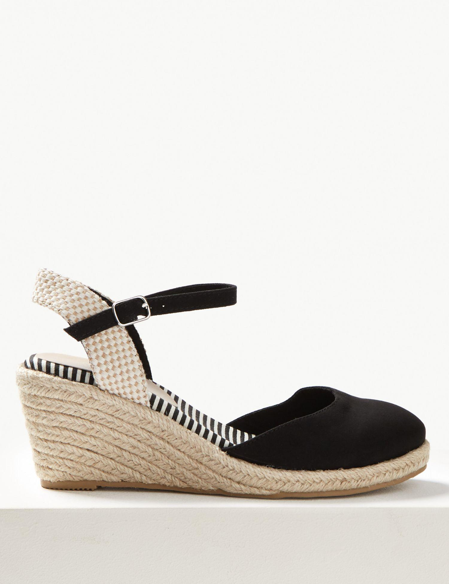 ce83eebd5ec Marks & Spencer Wedge Heel Almond Toe Espadrilles in Black - Lyst