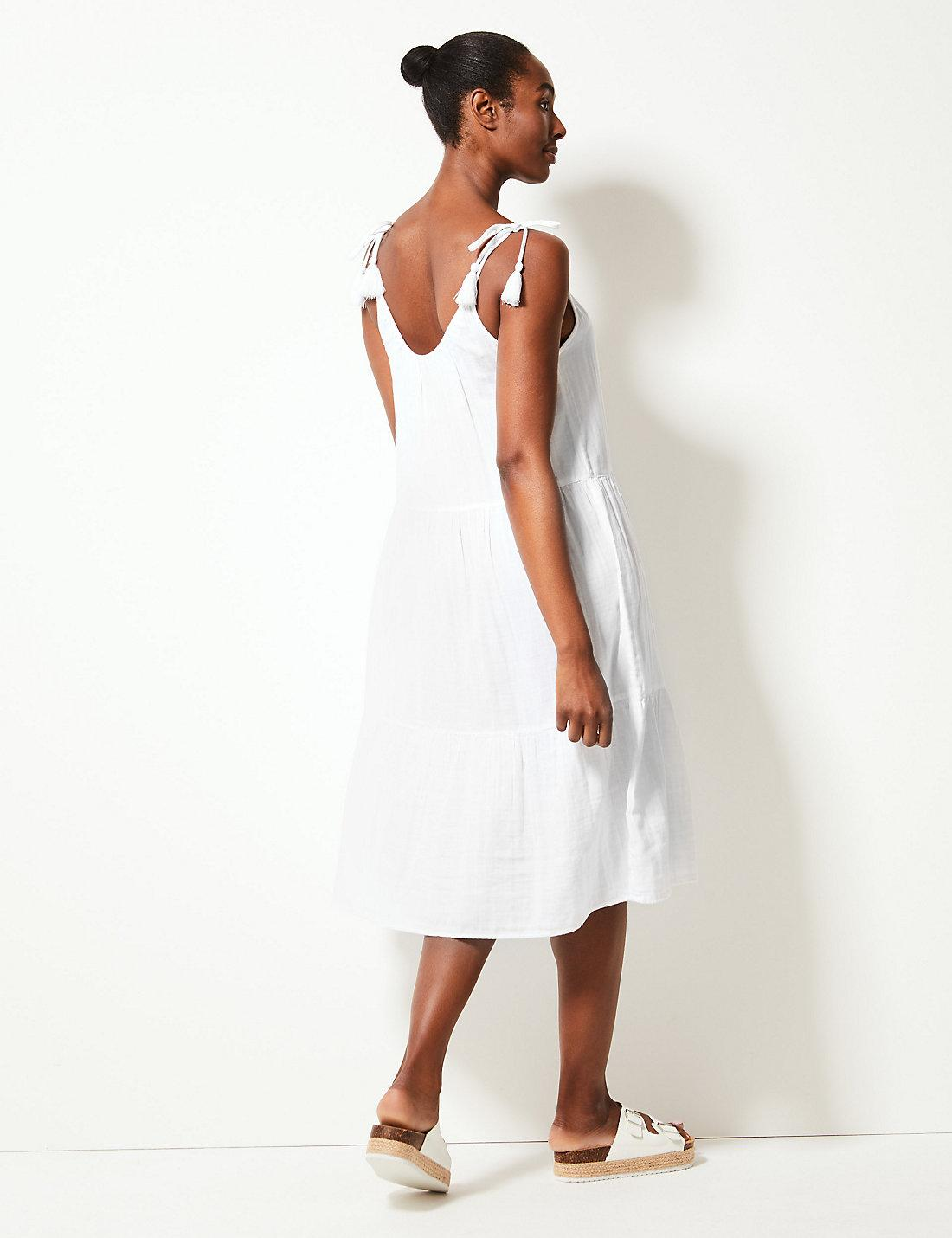 e0b477f1999 Marks   Spencer - White Pure Cotton Slip Beach Dress - Lyst. View fullscreen