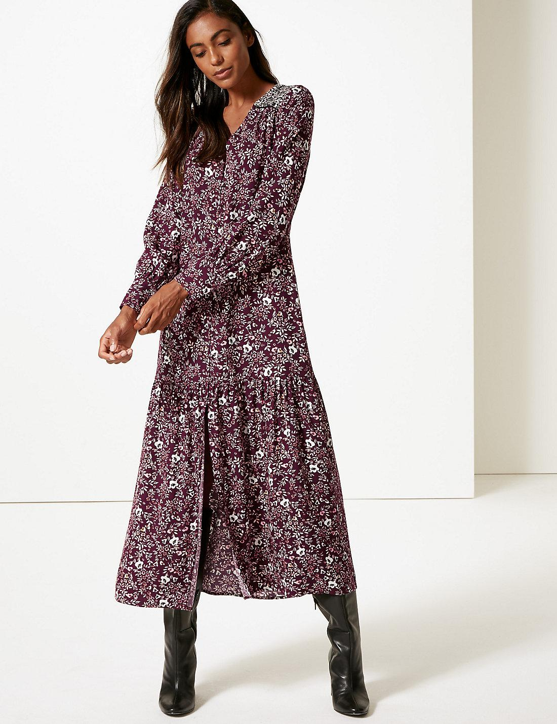 Lyst - Marks   Spencer Floral Print Long Sleeve Shirt Maxi Dress in Purple 859b0ec20