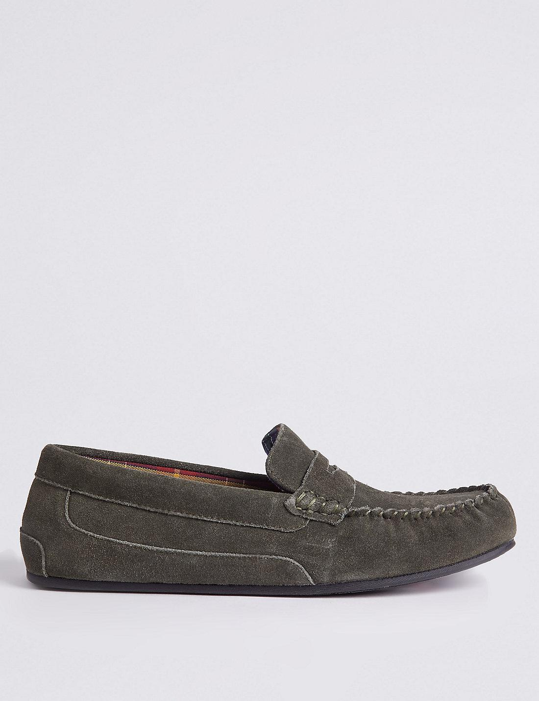 Marks Amp Spencer Suede Slip On Slippers With Freshfeettm